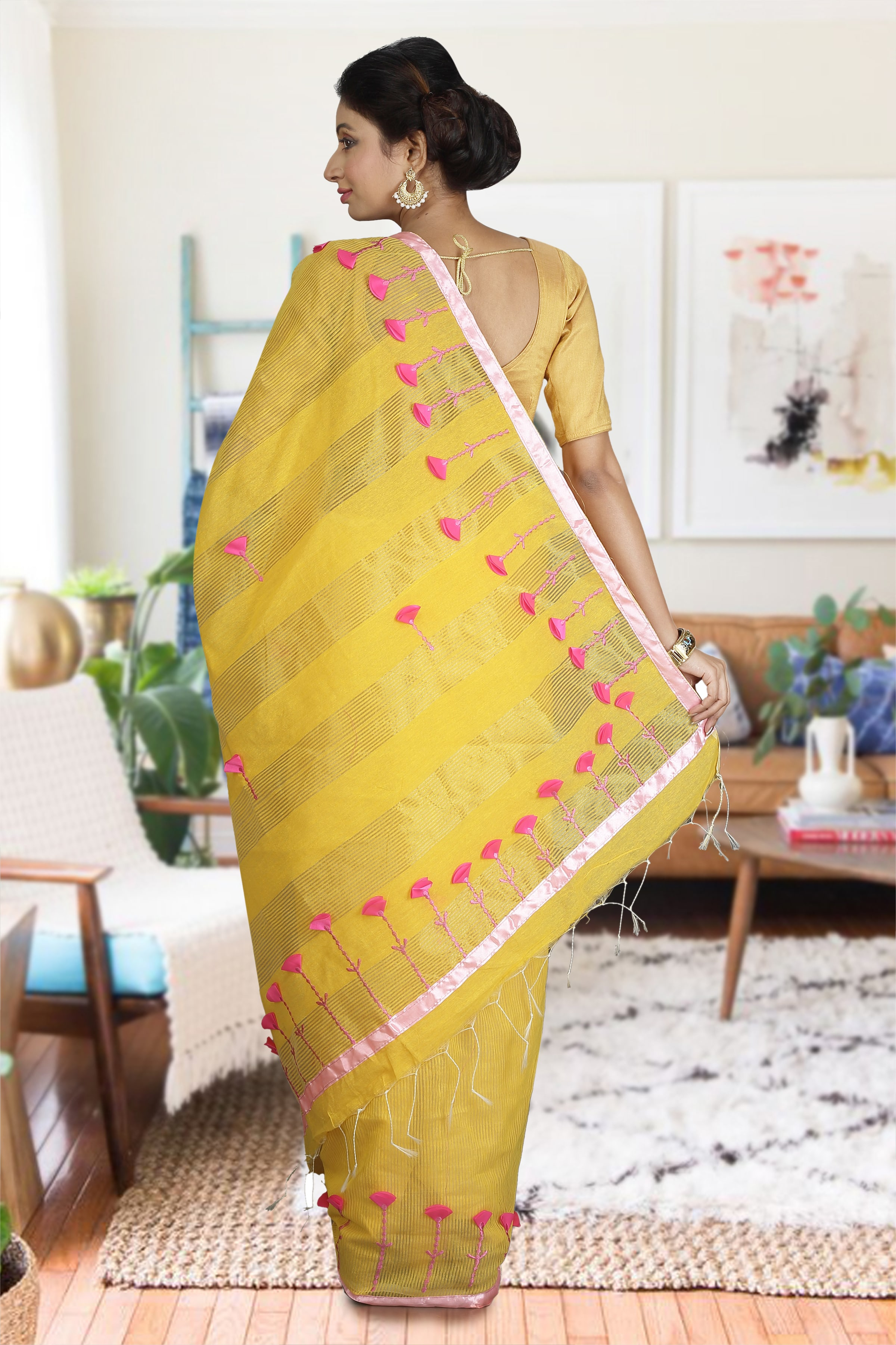 Yellow and Pink Hand Woven Blended Cotton Saree 1