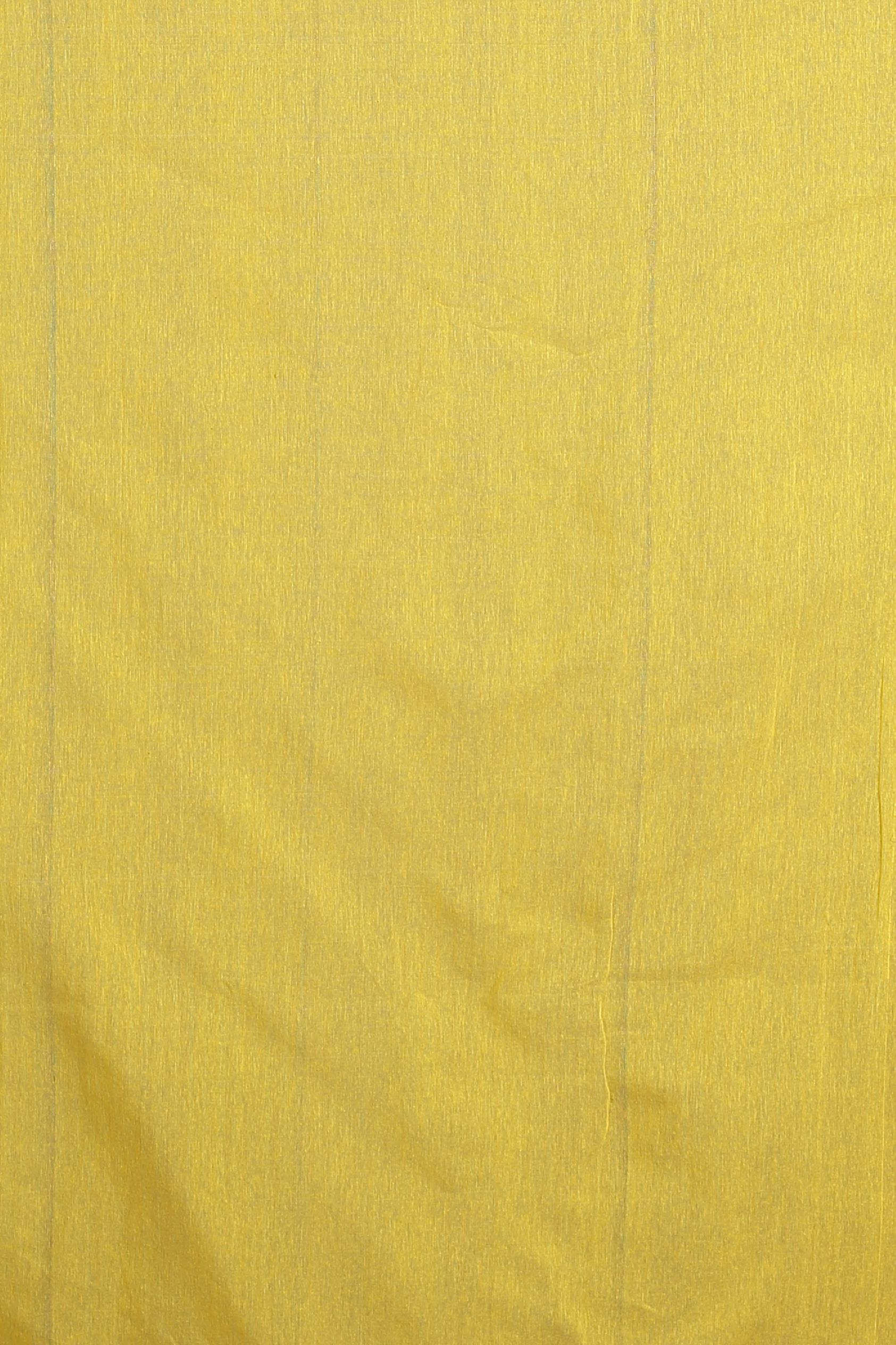 Yellow and Pink Hand Woven Blended Cotton Saree 2