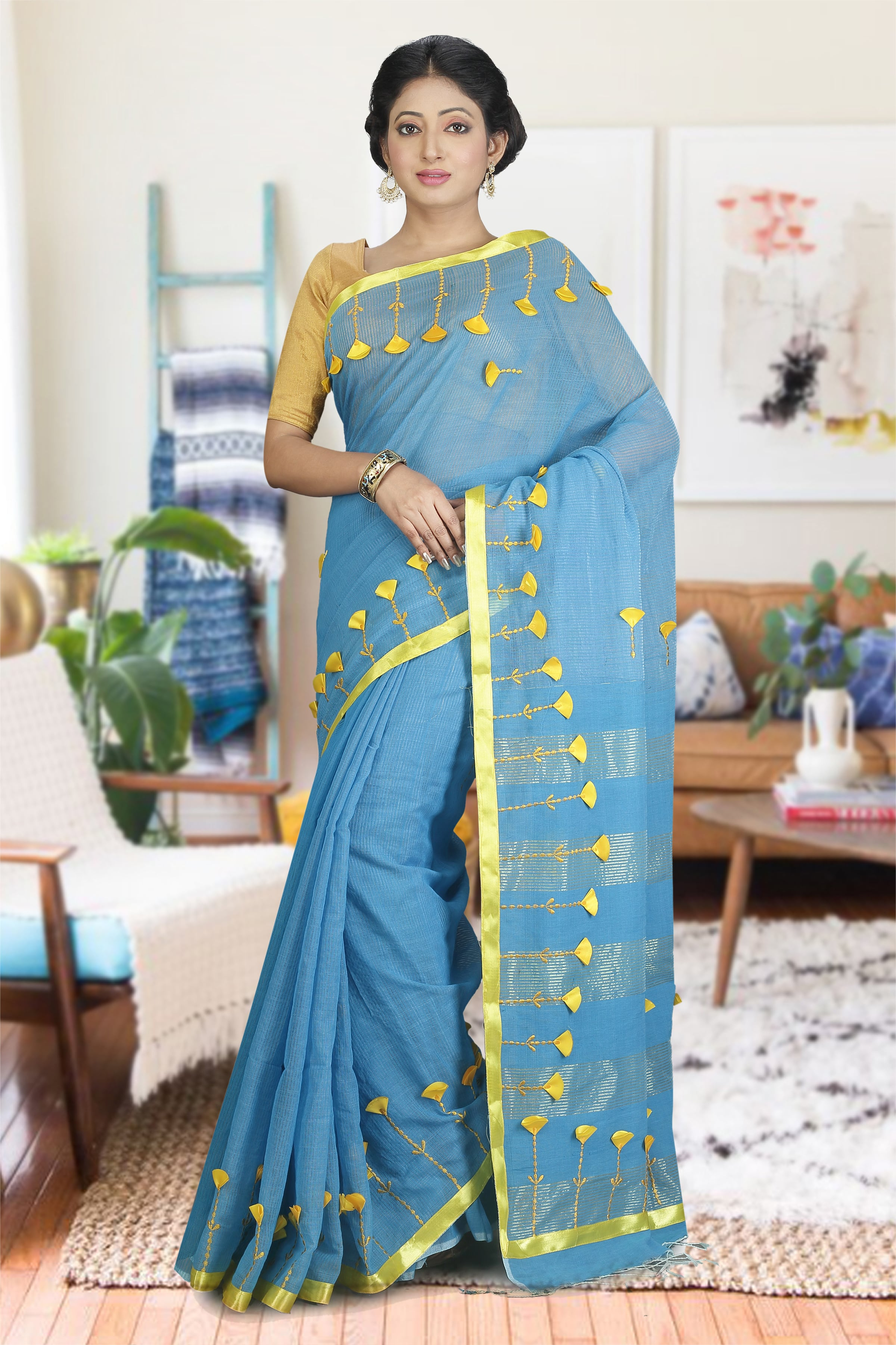 Blue and Yellow Hand Woven Blended Cotton Saree