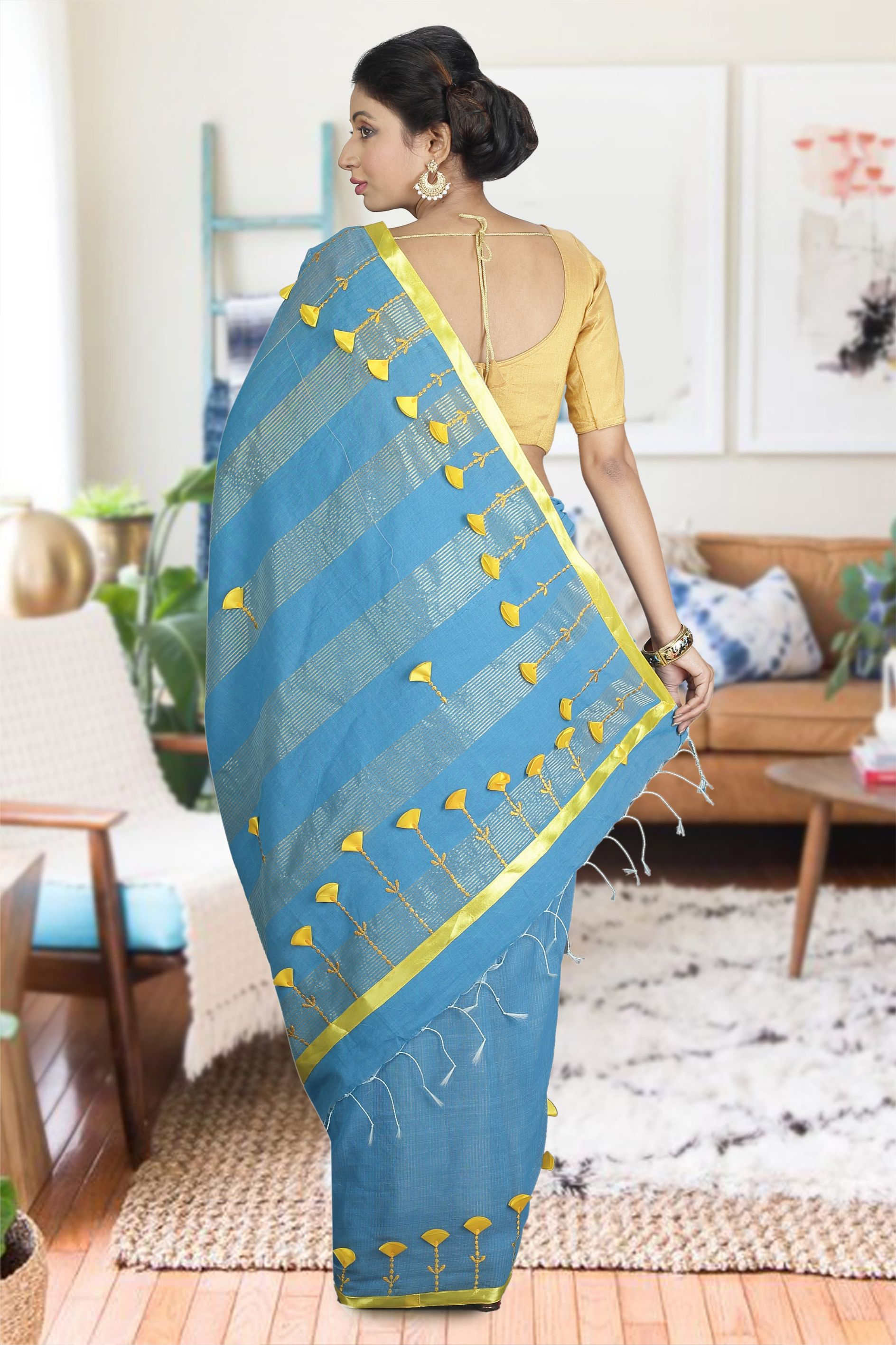 Blue and Yellow Hand Woven Blended Cotton Saree 1