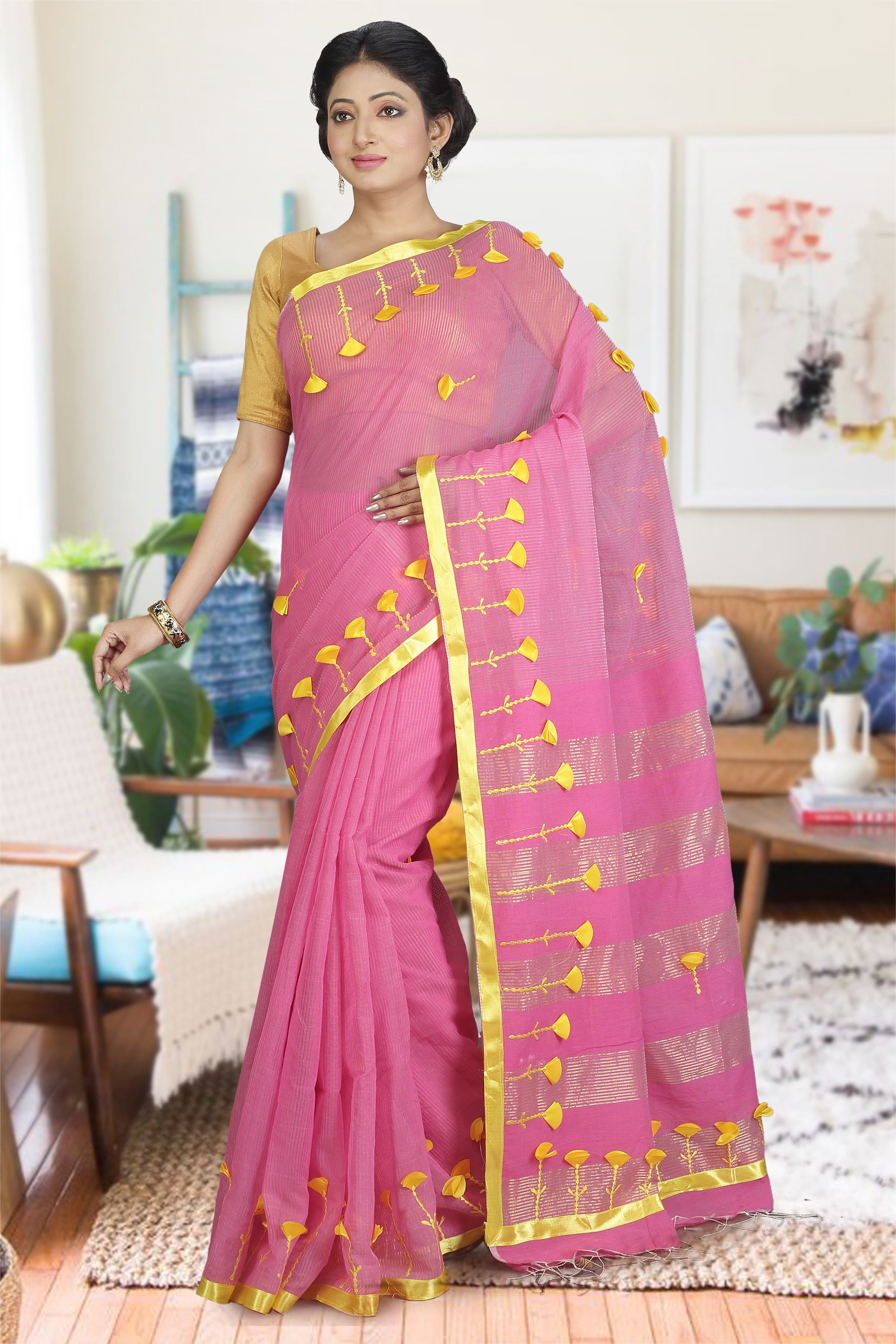 Pink and Yellow Hand Woven Blended Cotton Saree