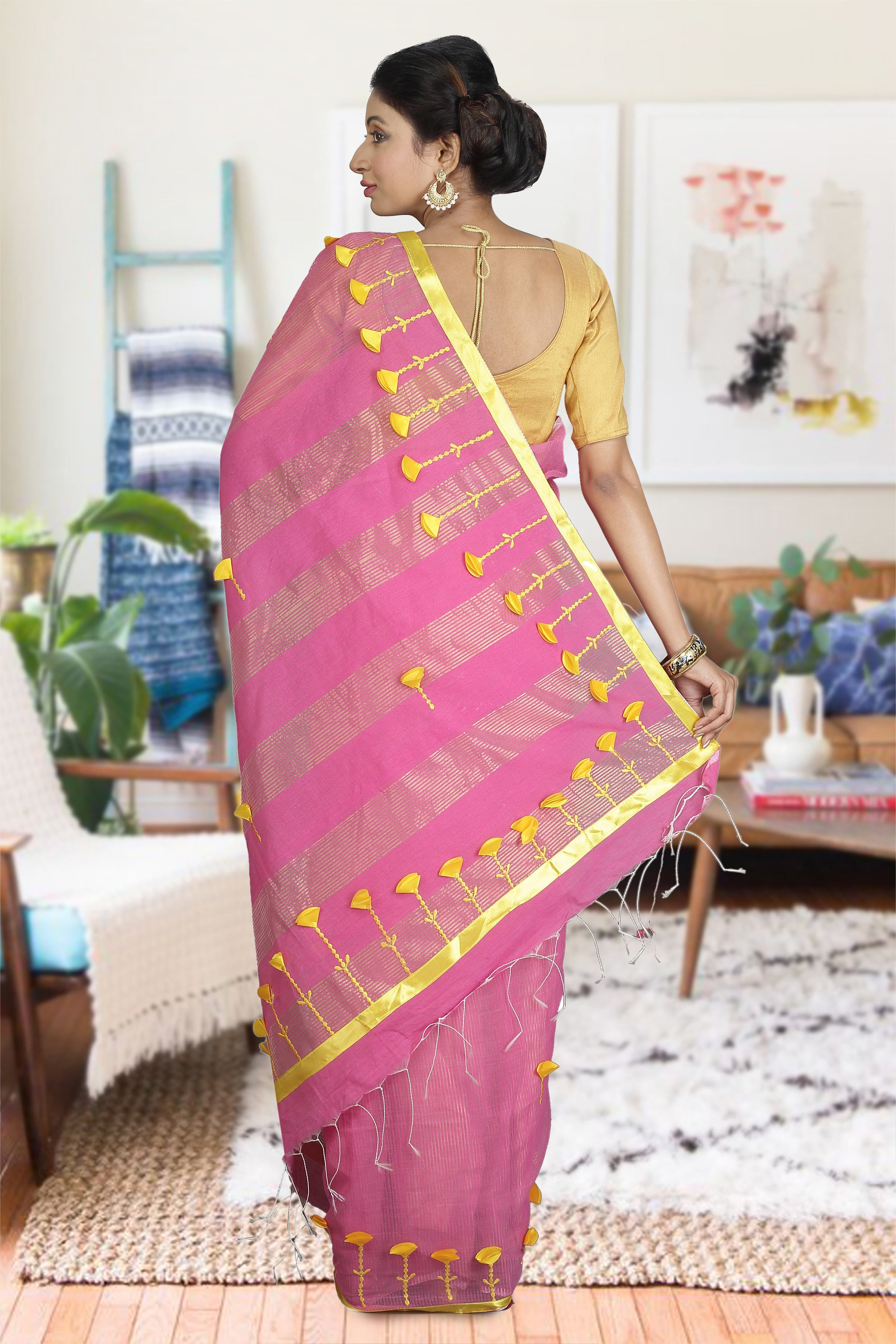 Pink and Yellow Hand Woven Blended Cotton Saree 1