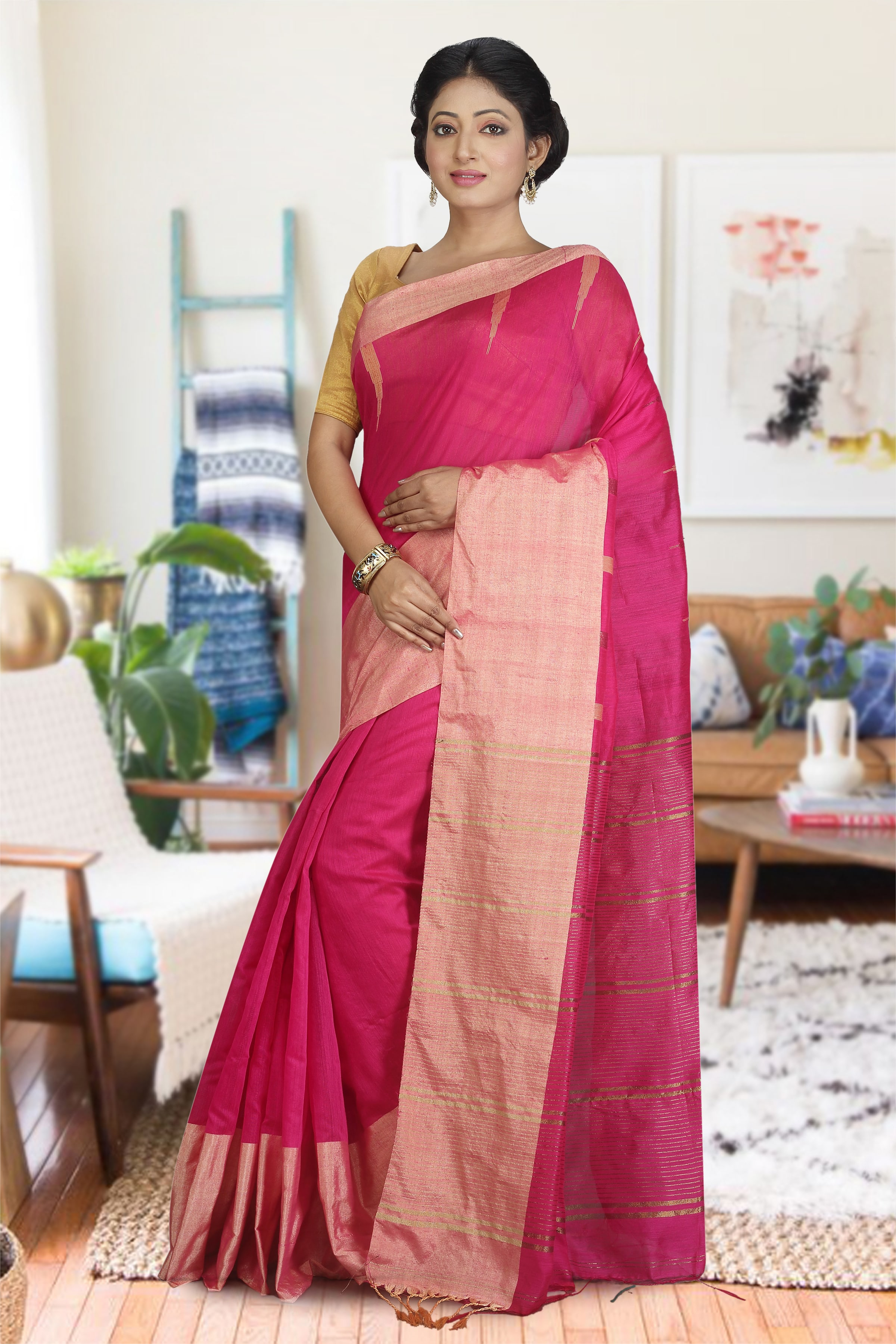 Rani and Beige Hand Woven Blended Cotton Saree