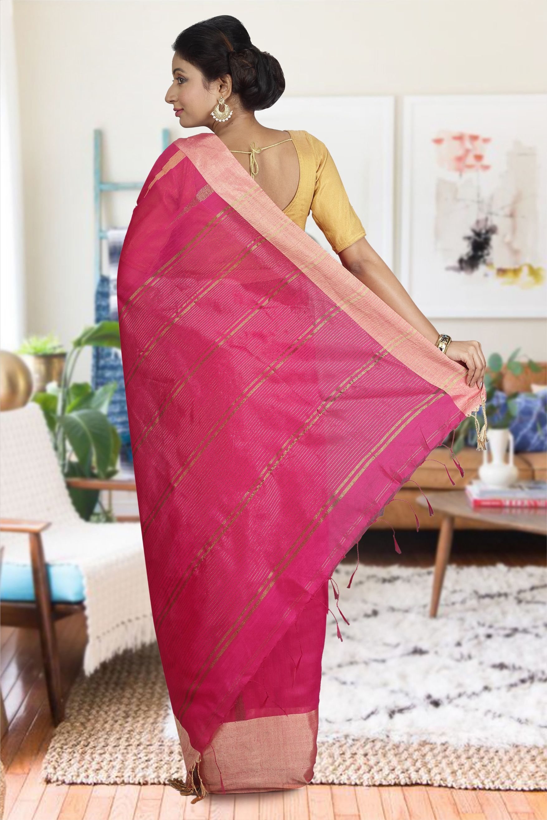 Rani and Beige Hand Woven Blended Cotton Saree 1