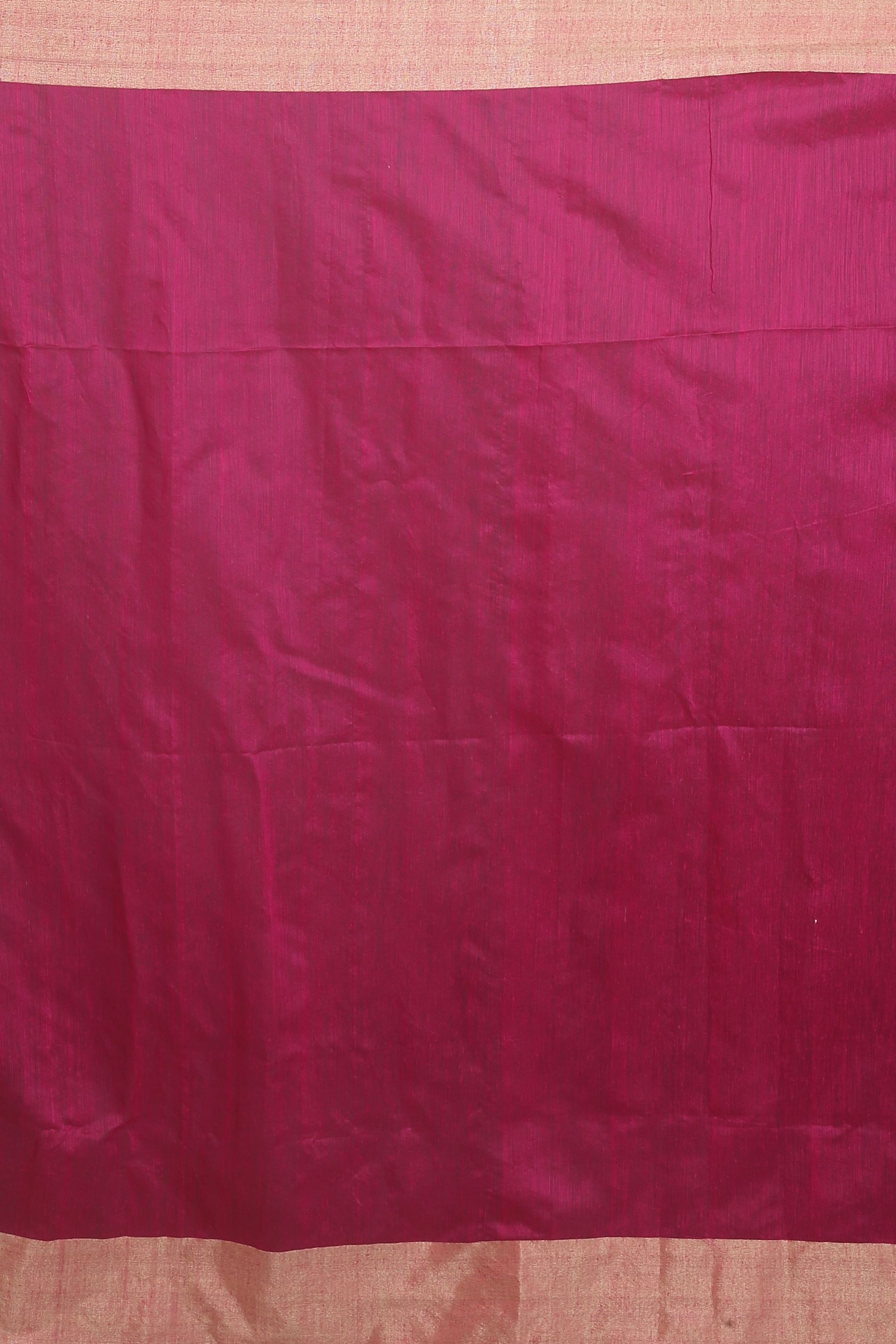 Rani and Beige Hand Woven Blended Cotton Saree 2
