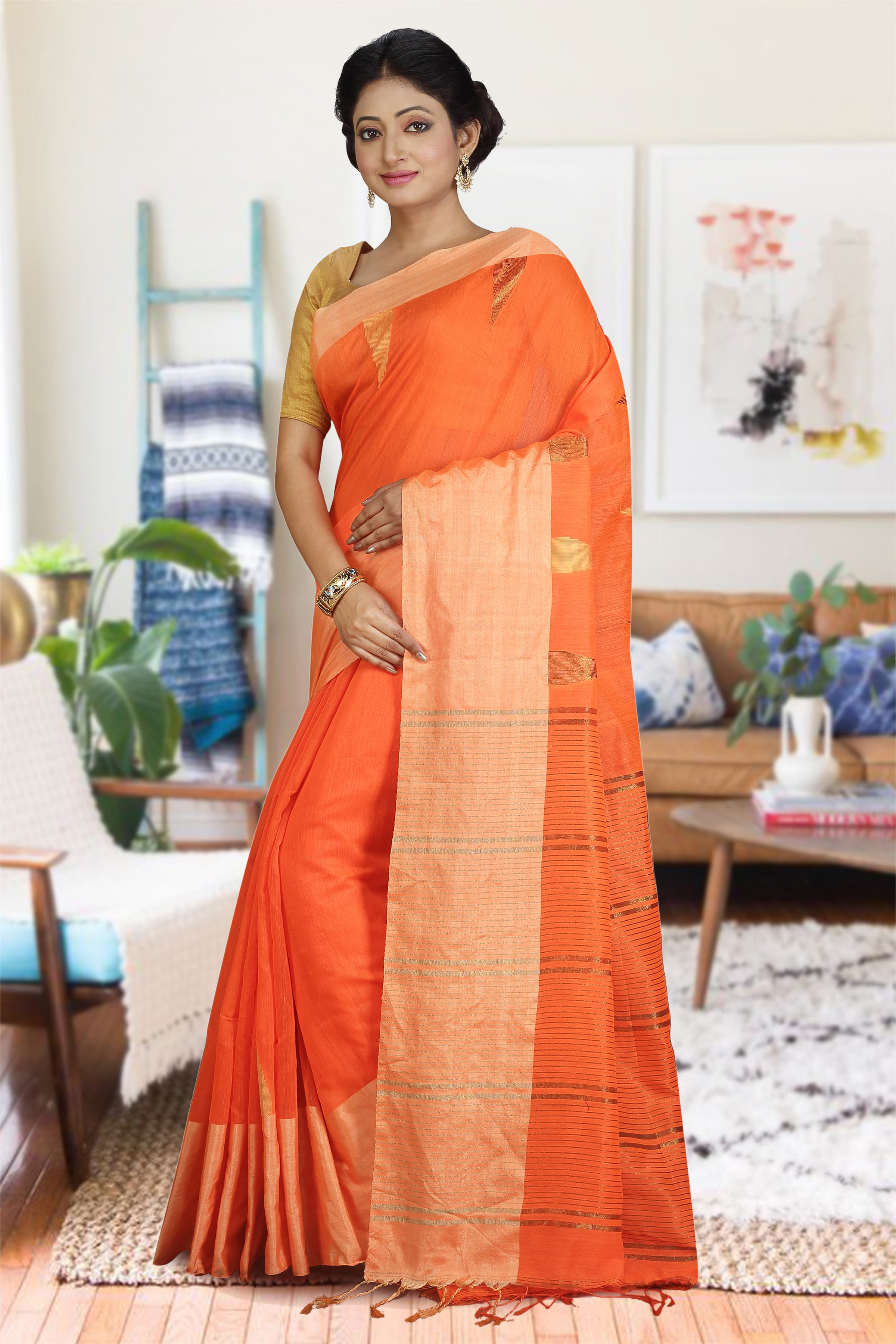Orange and Beige Hand Woven Blended Cotton Saree