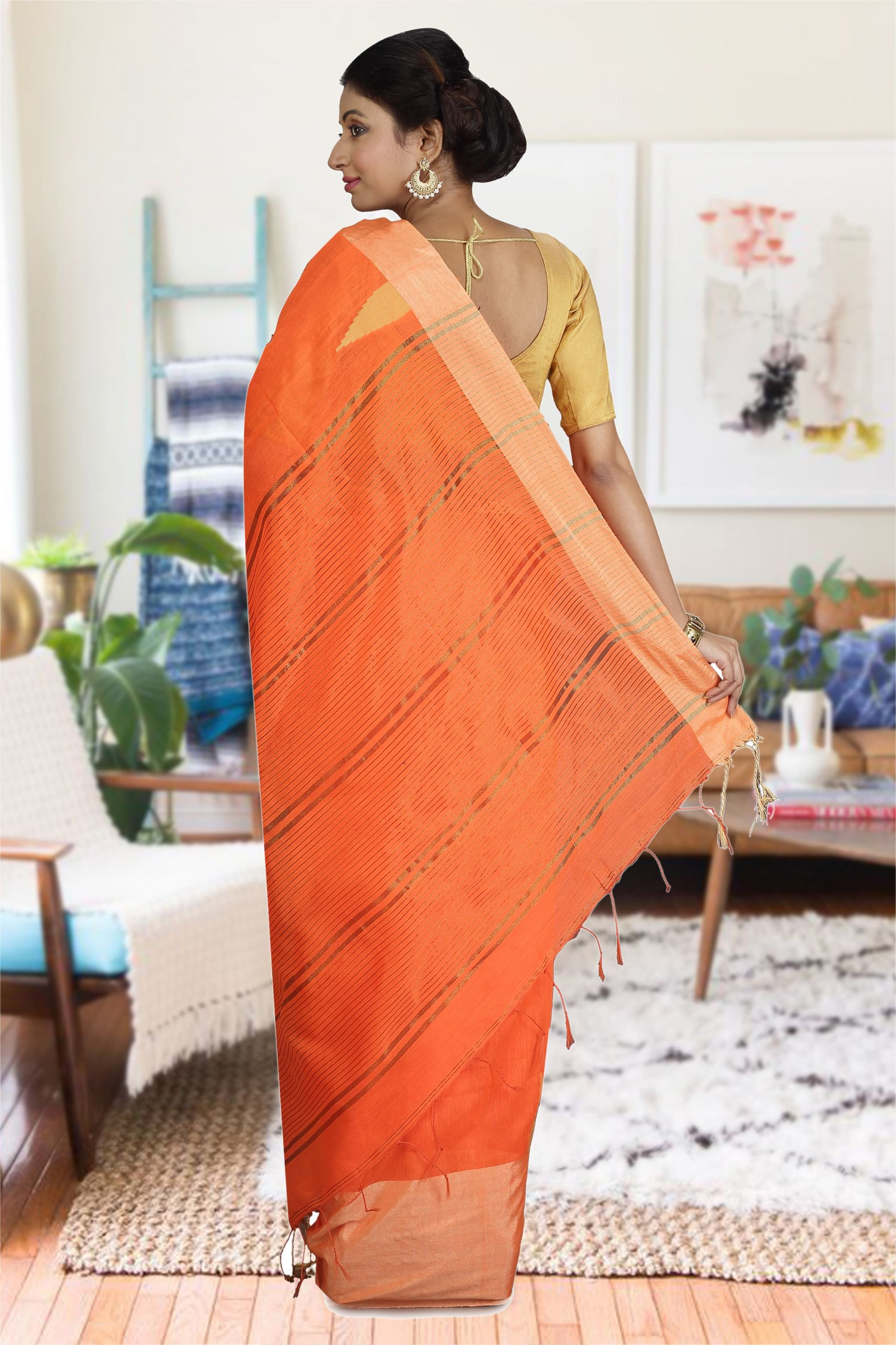 Orange and Beige Hand Woven Blended Cotton Saree 1