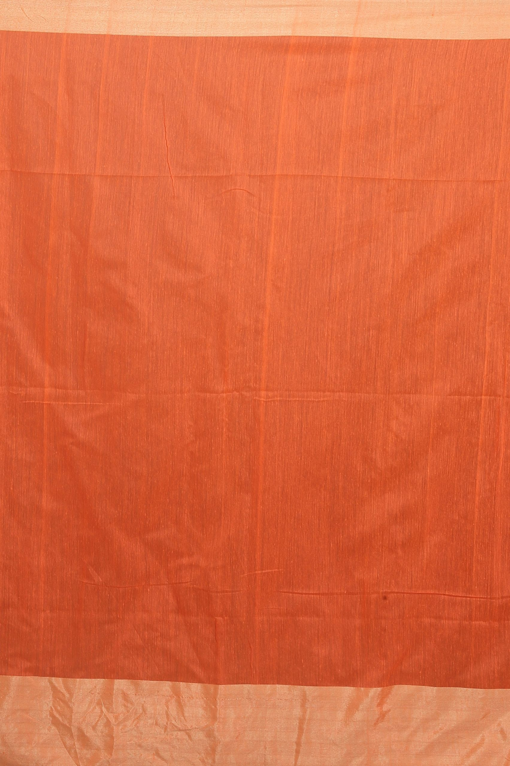 Orange and Beige Hand Woven Blended Cotton Saree 2