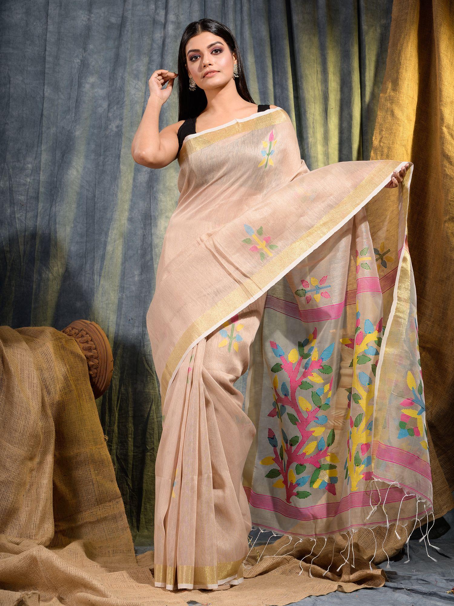 Beige Silk Linen handwoven saree with Jamdani work in pallu