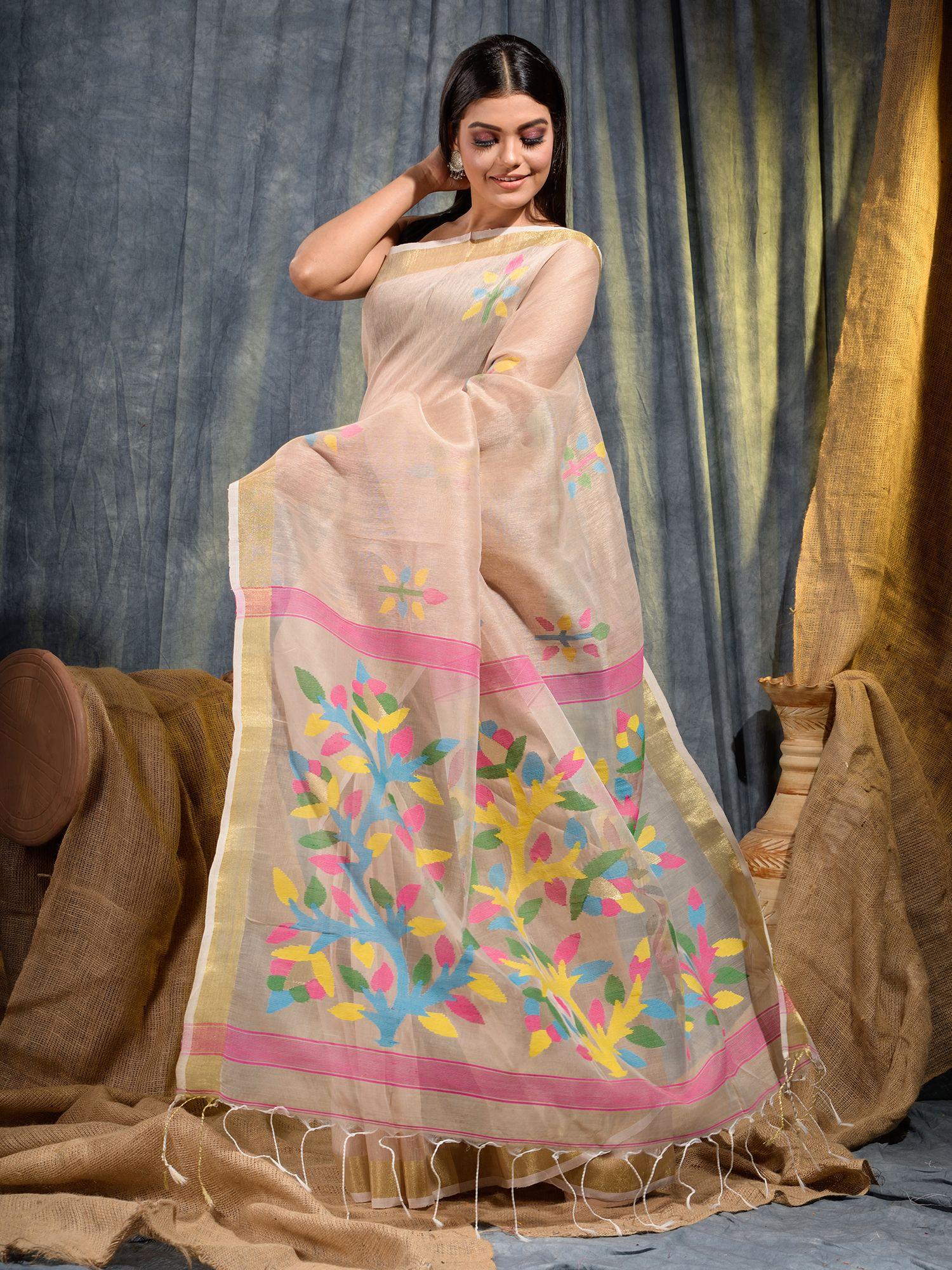 Beige Silk Linen handwoven saree with Jamdani work in pallu 2