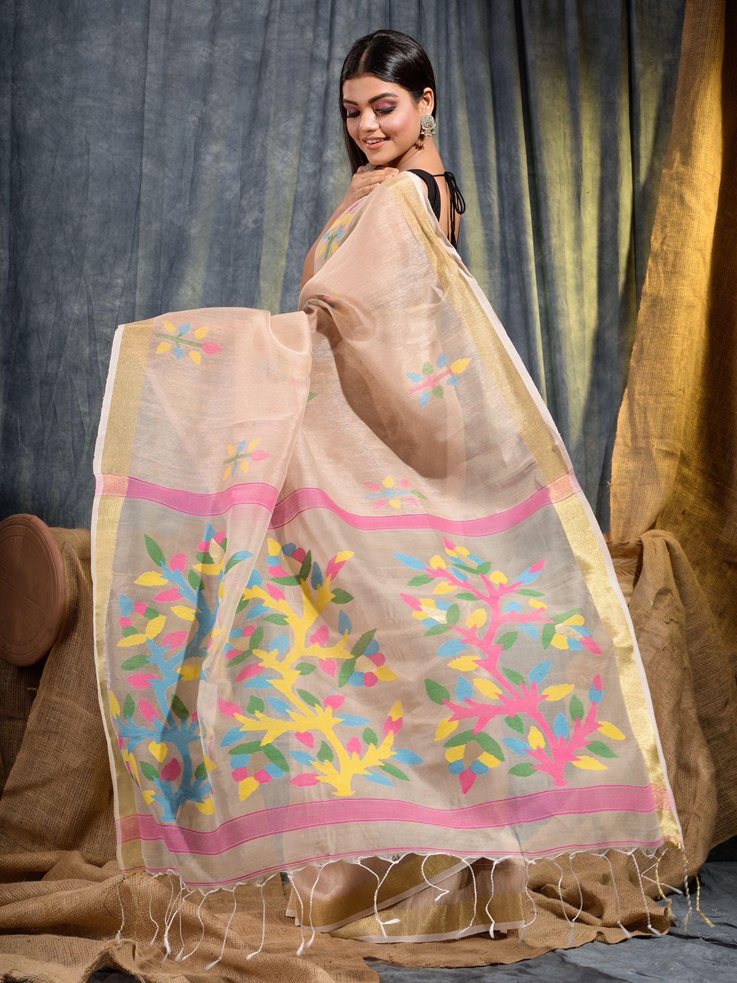 Beige Silk Linen handwoven saree with Jamdani work in pallu 0