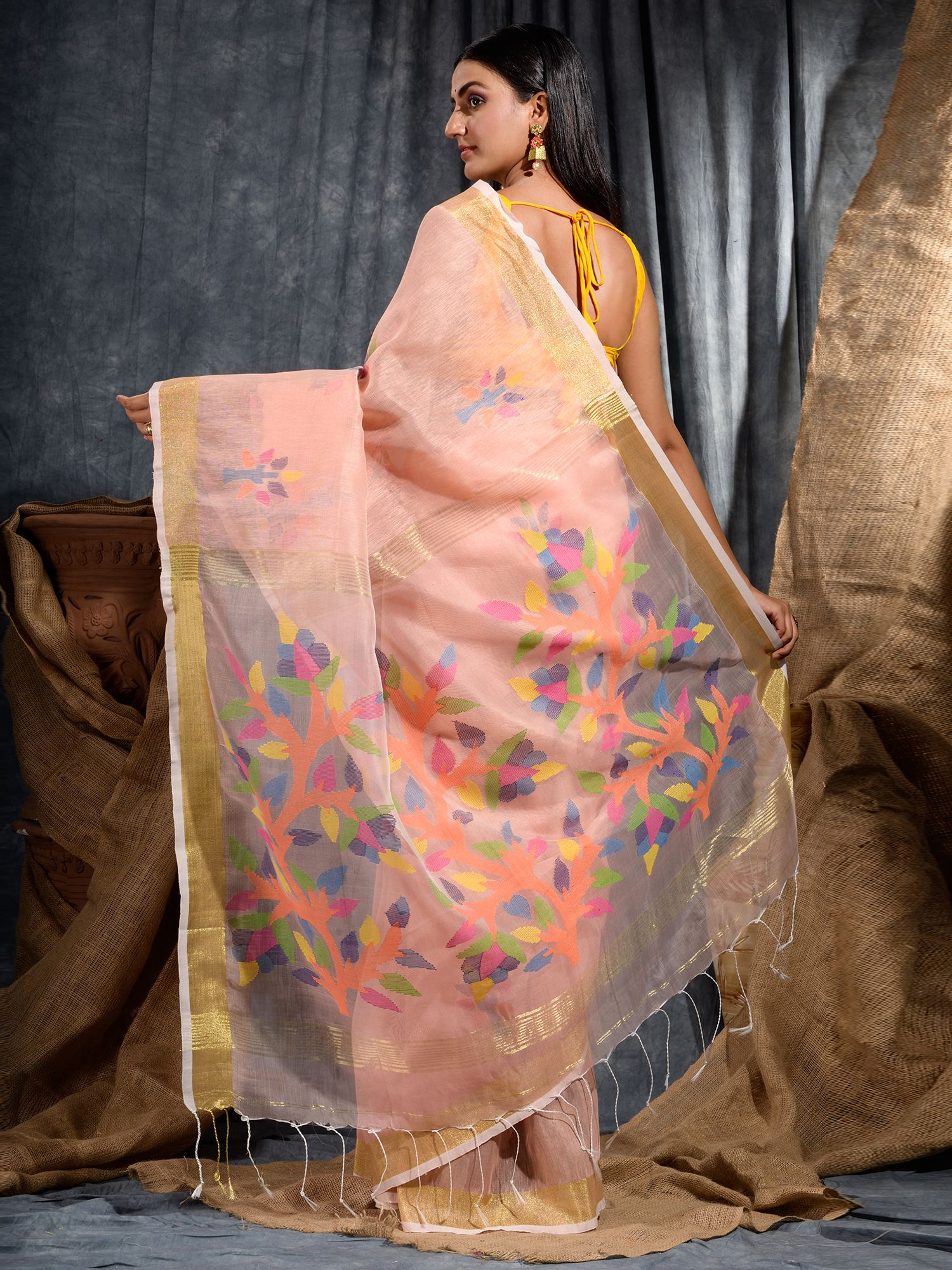 Peach Silk Linen Hand Woven Saree with Jamdani work in pallu 0