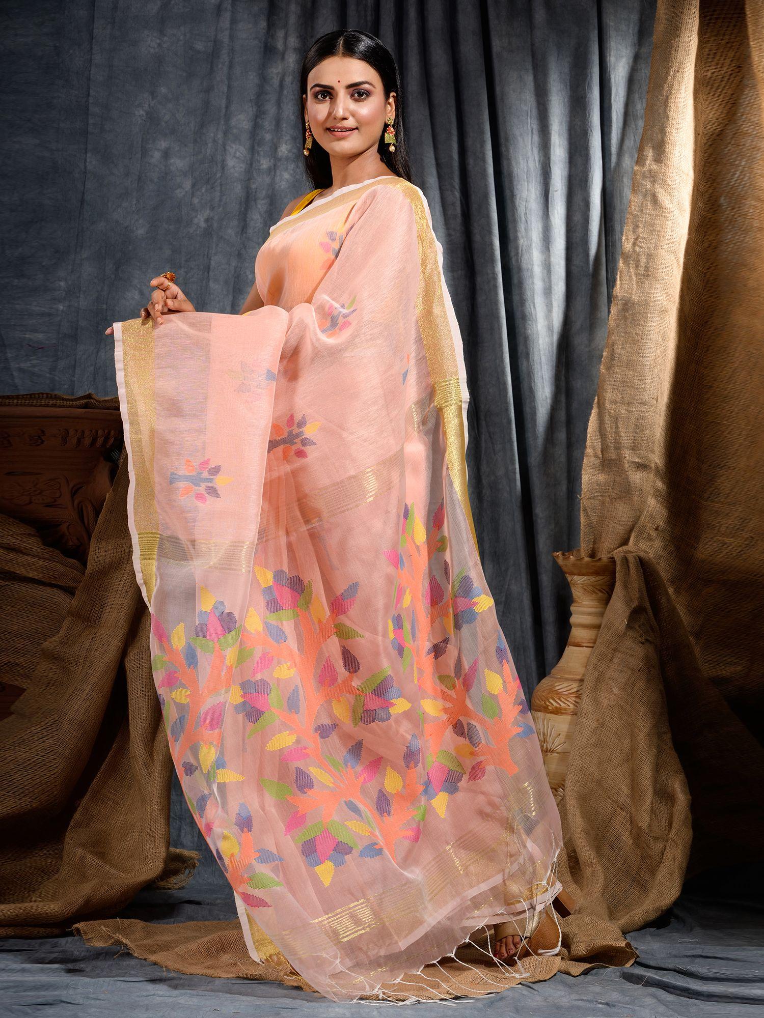 Peach Silk Linen Hand Woven Saree with Jamdani work in pallu 2