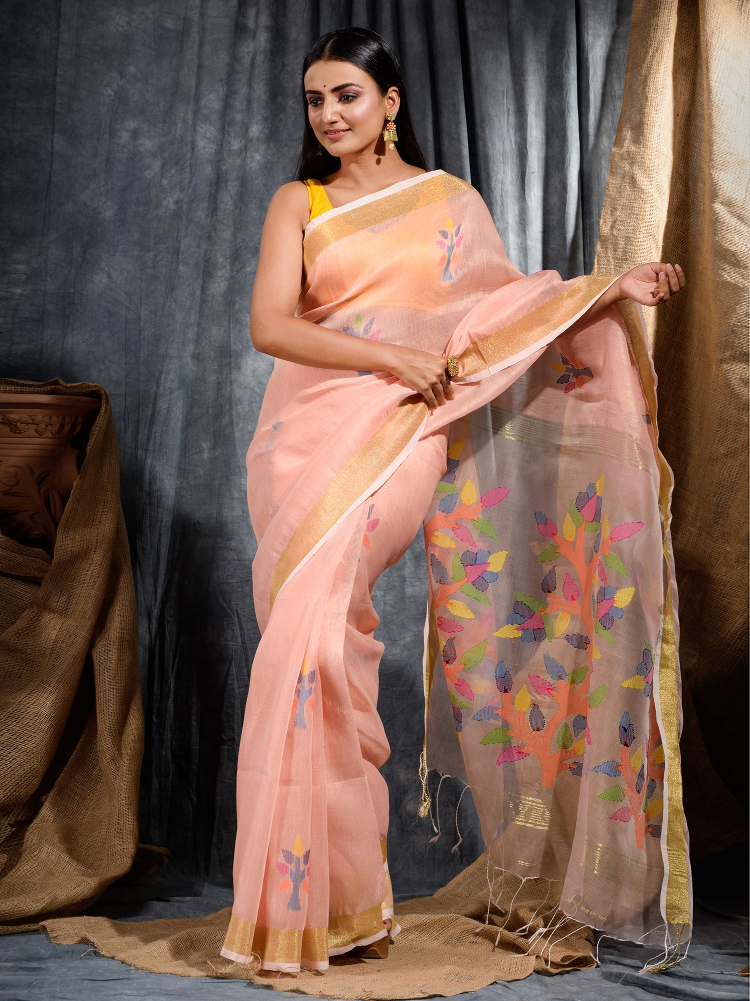 Peach Silk Linen Hand Woven Saree with Jamdani work in pallu