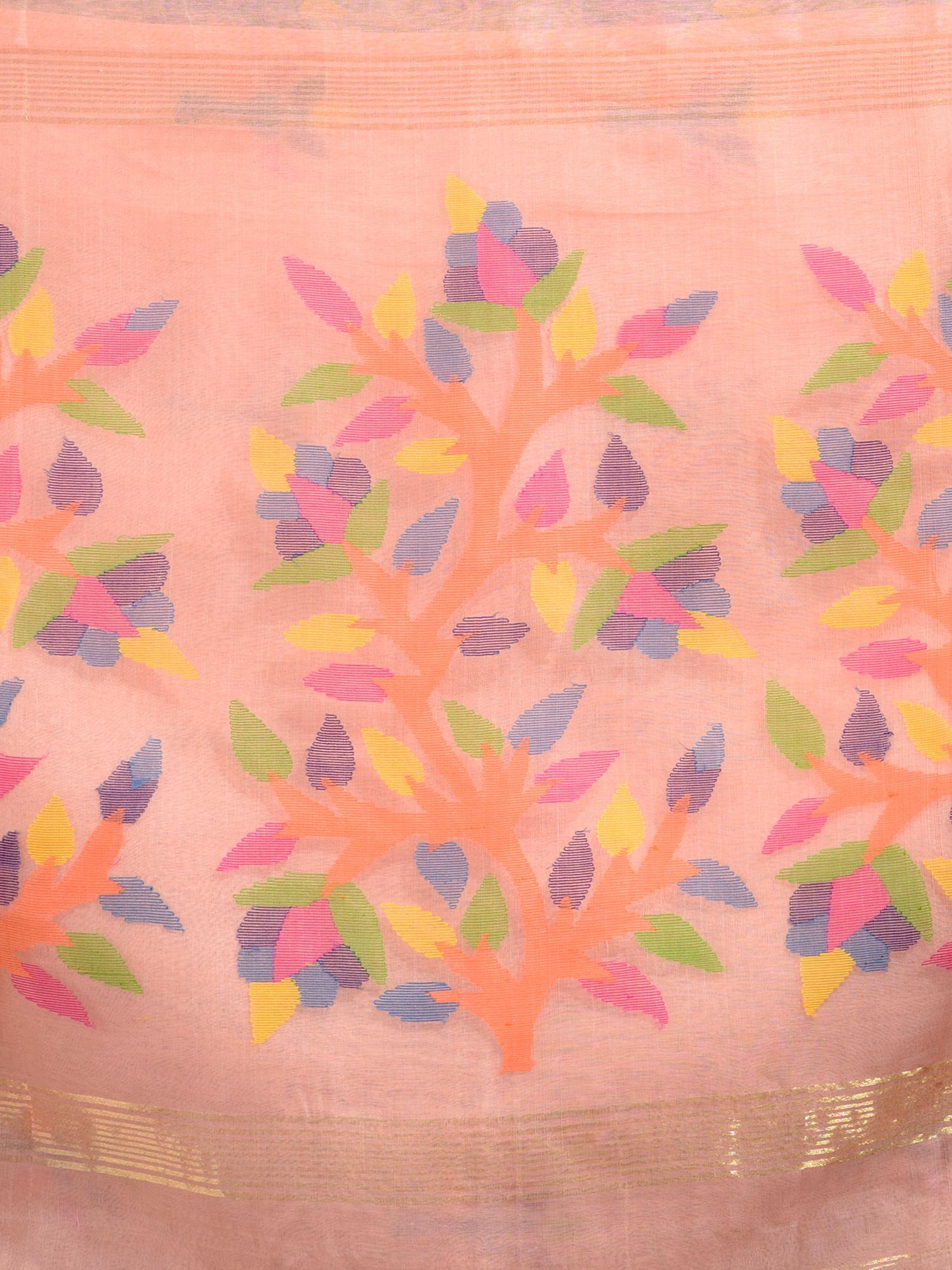 Peach Silk Linen Hand Woven Saree with Jamdani work in pallu 1