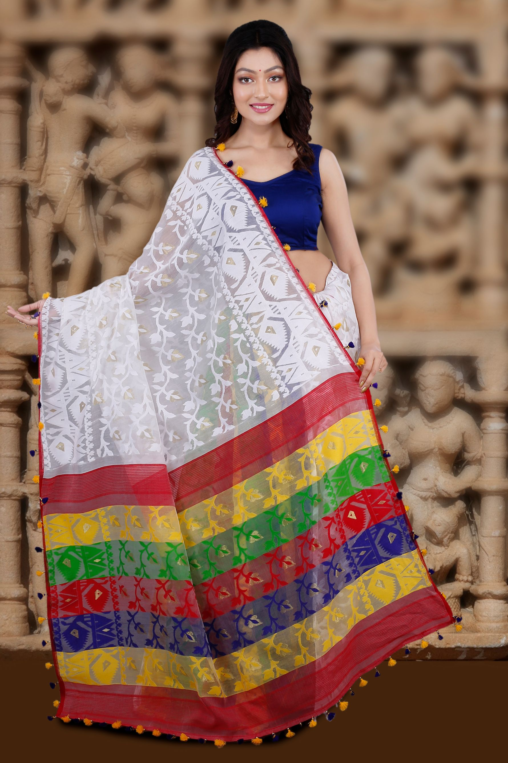 White Hand Woven Blended Cotton Jamdani Saree With Multi Colour Motive 2