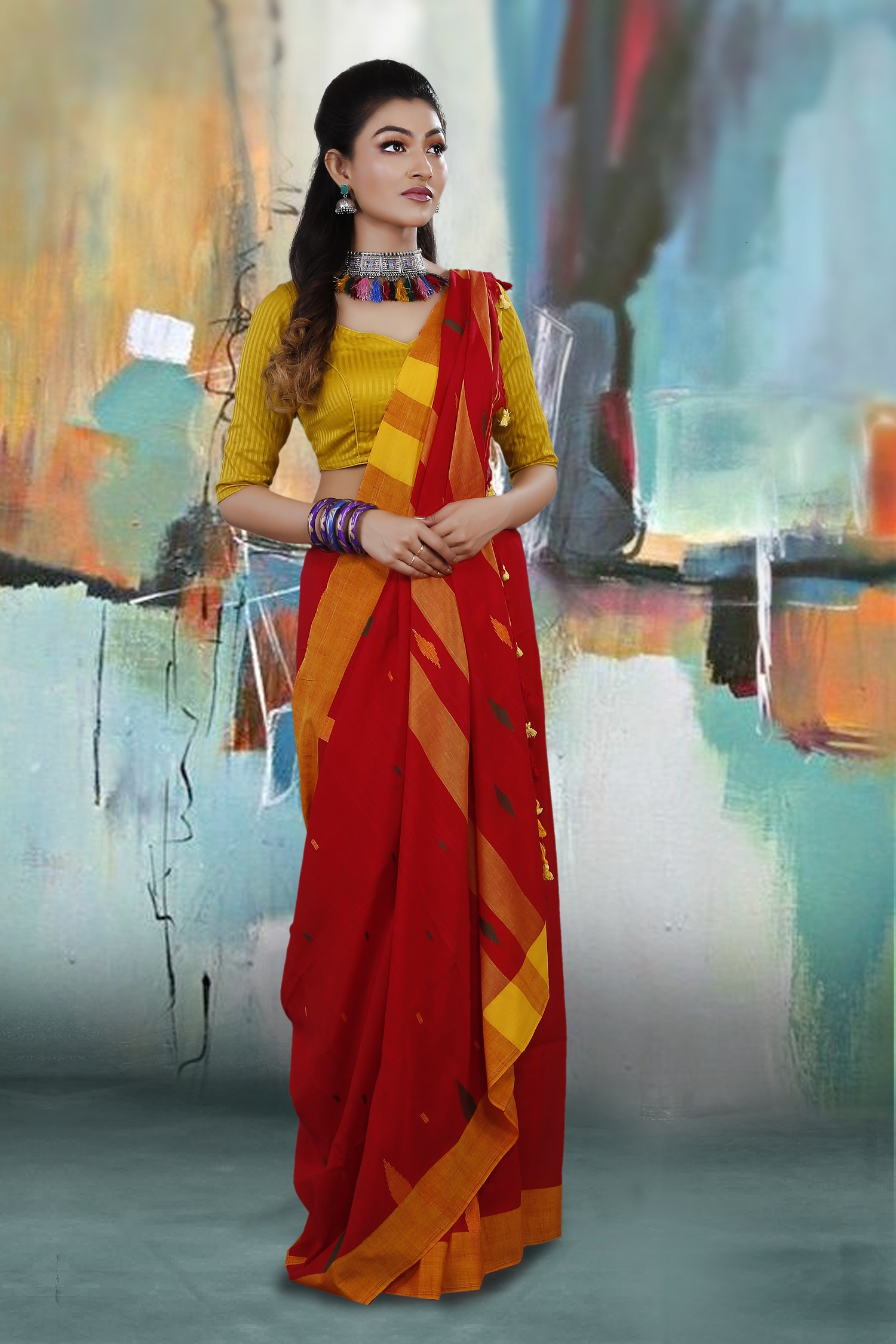 Red and Yellow Border Hand Woven Pure Cotton Saree 1