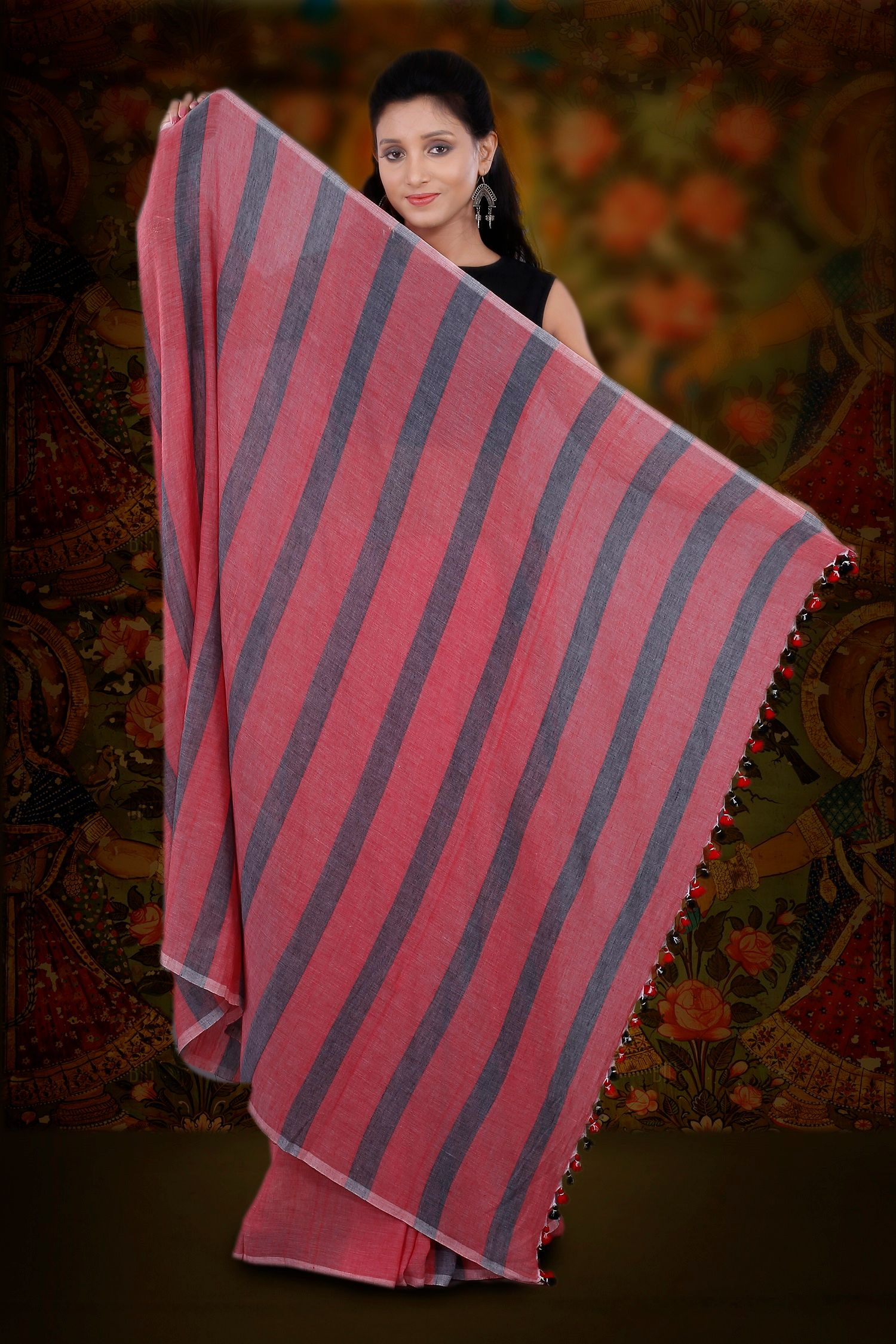 Red And Grey Hand Woven Pure Cotton Saree 2