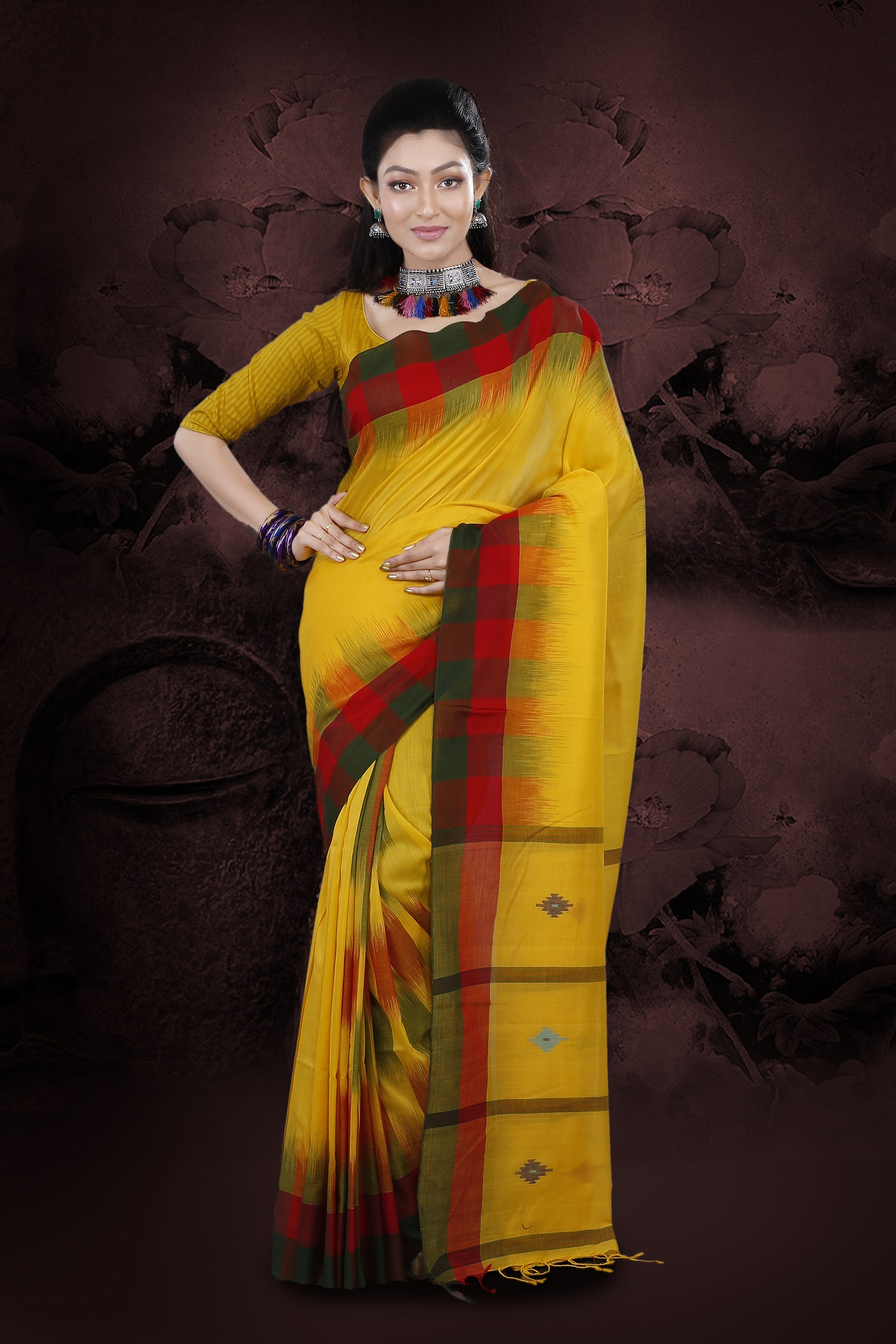 Yellow Coloured Hand Woven Pure Cotton Saree 1
