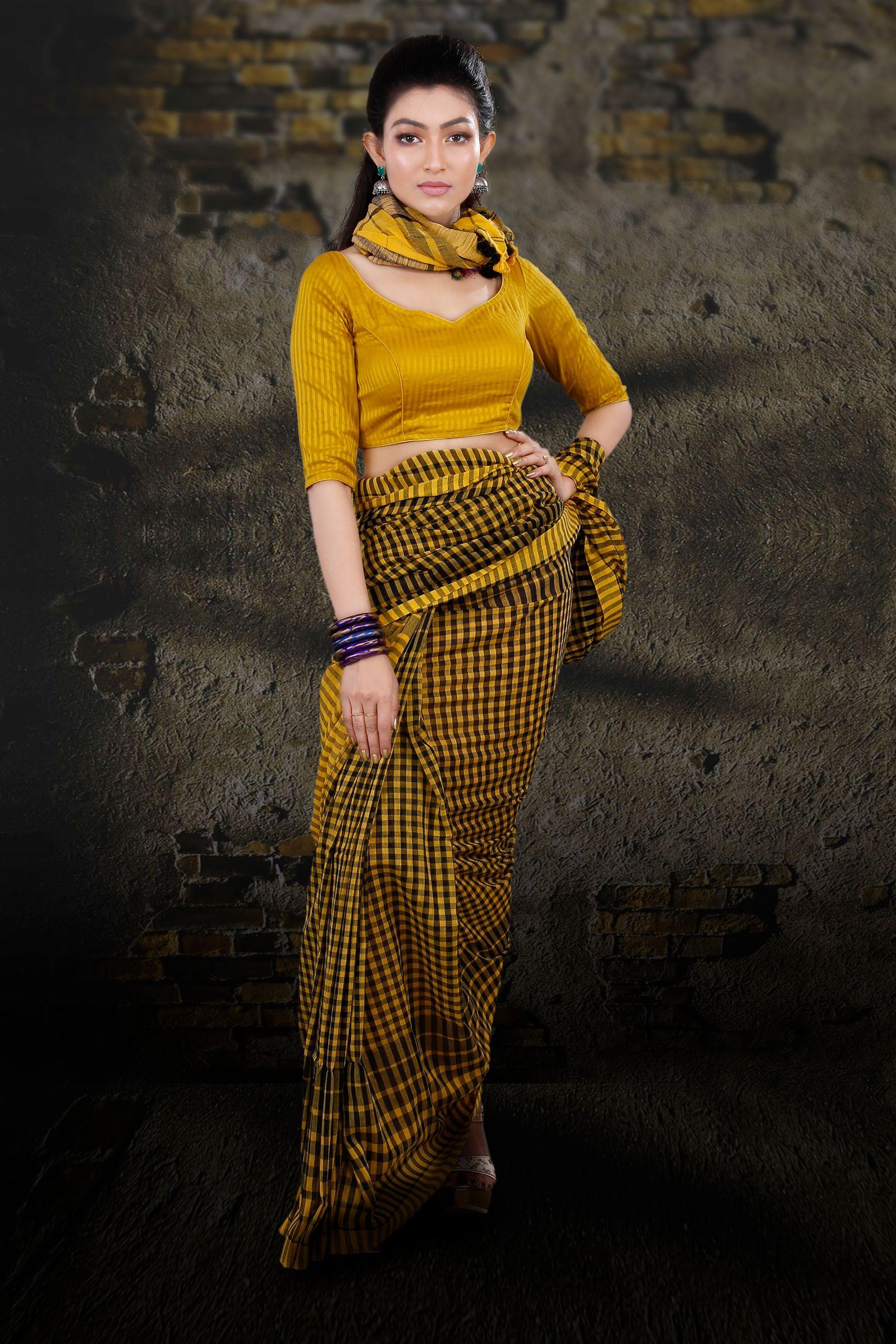 Yellow & Black Check Bengal Hand Woven Saree