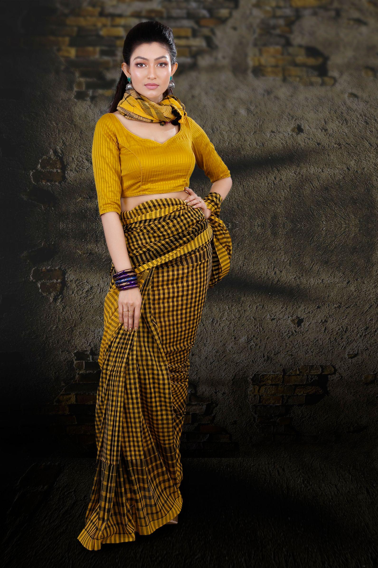 Yellow & Black Check Bengal Hand Woven Saree 1