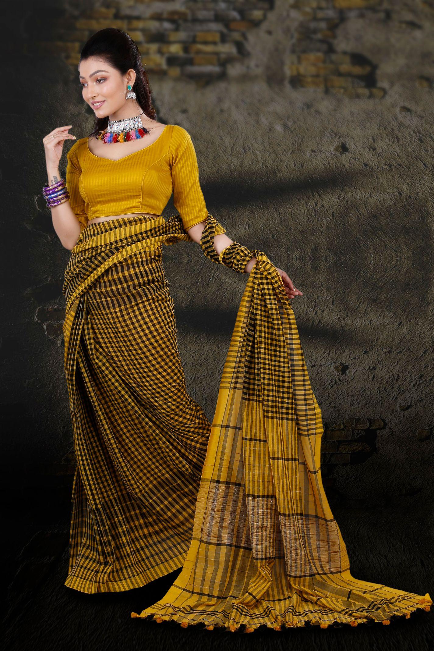 Yellow & Black Check Bengal Hand Woven Saree 2