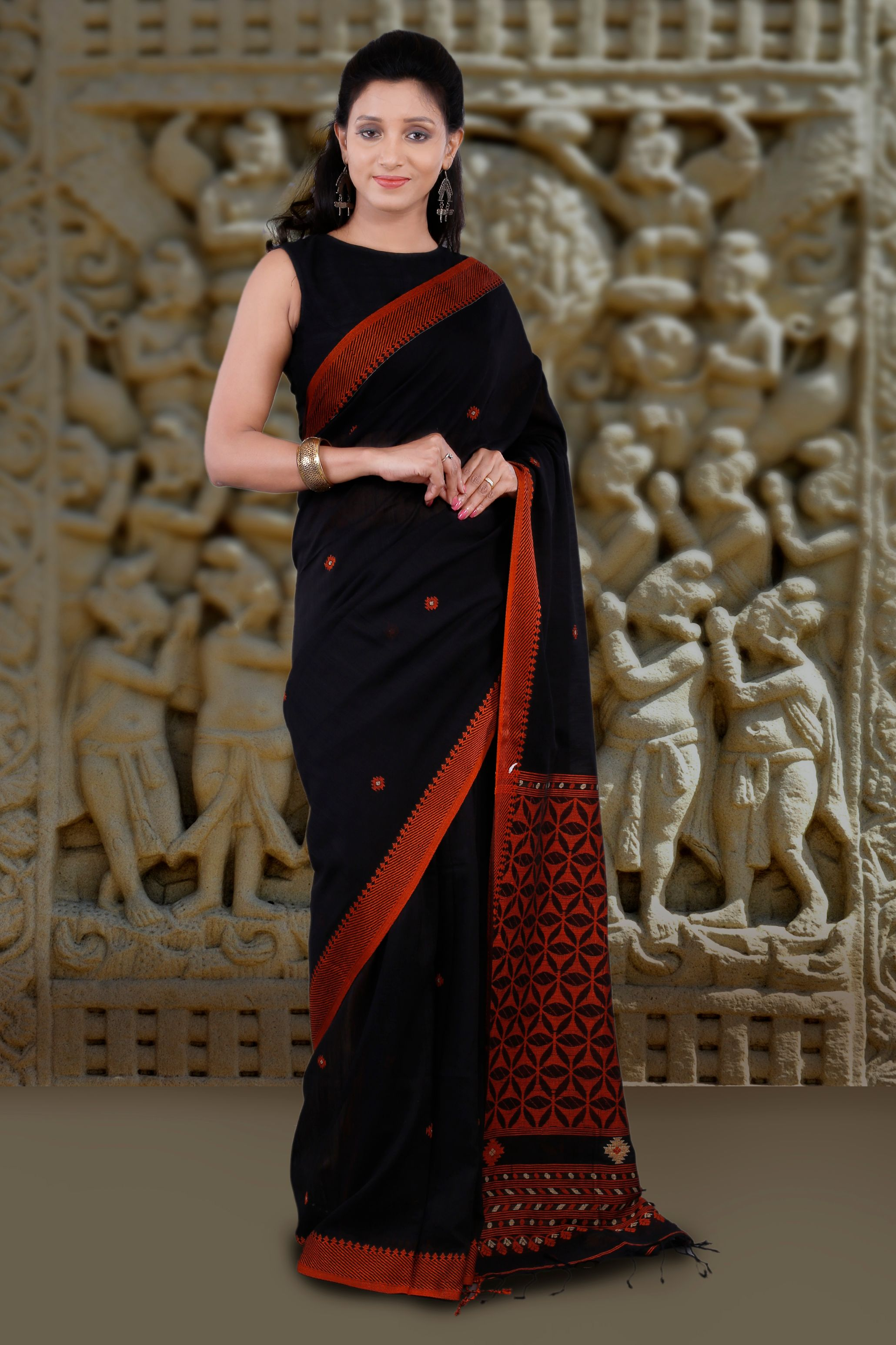 Black and Orange Hand Woven Blended Cotton Saree 0