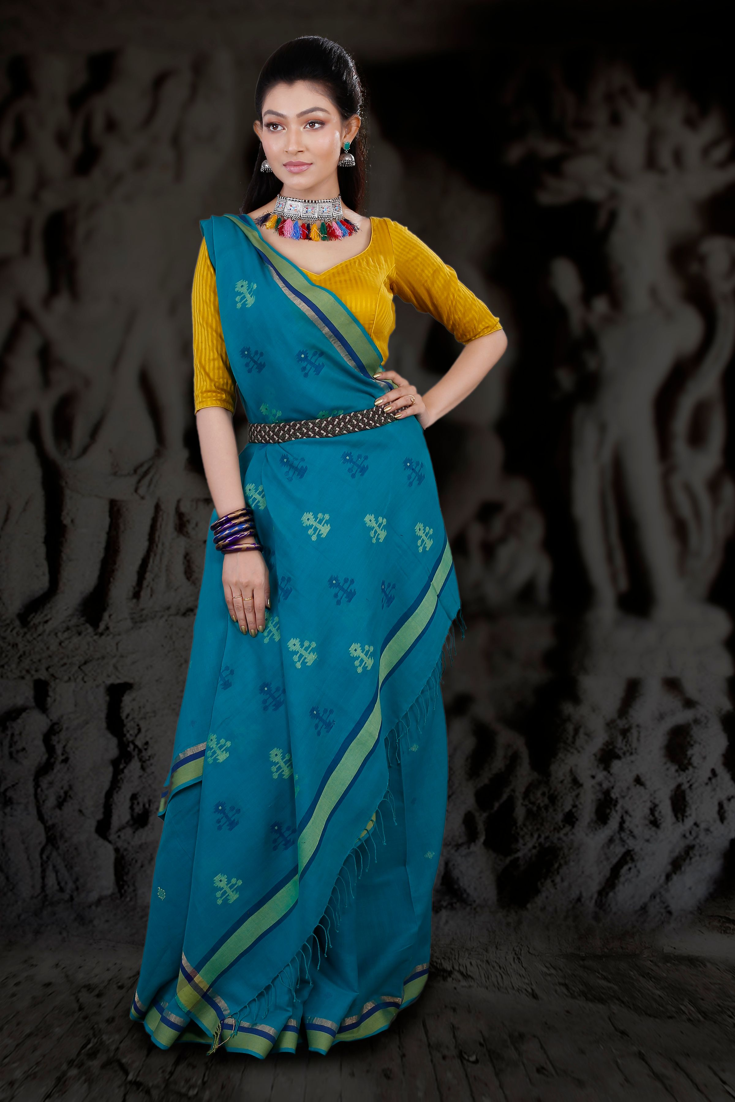 Blue Hand Woven Pure Cotton Saree With Green Border 1