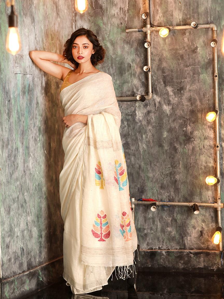 White Hand woven Linen Saree With Zamdani Weave 0