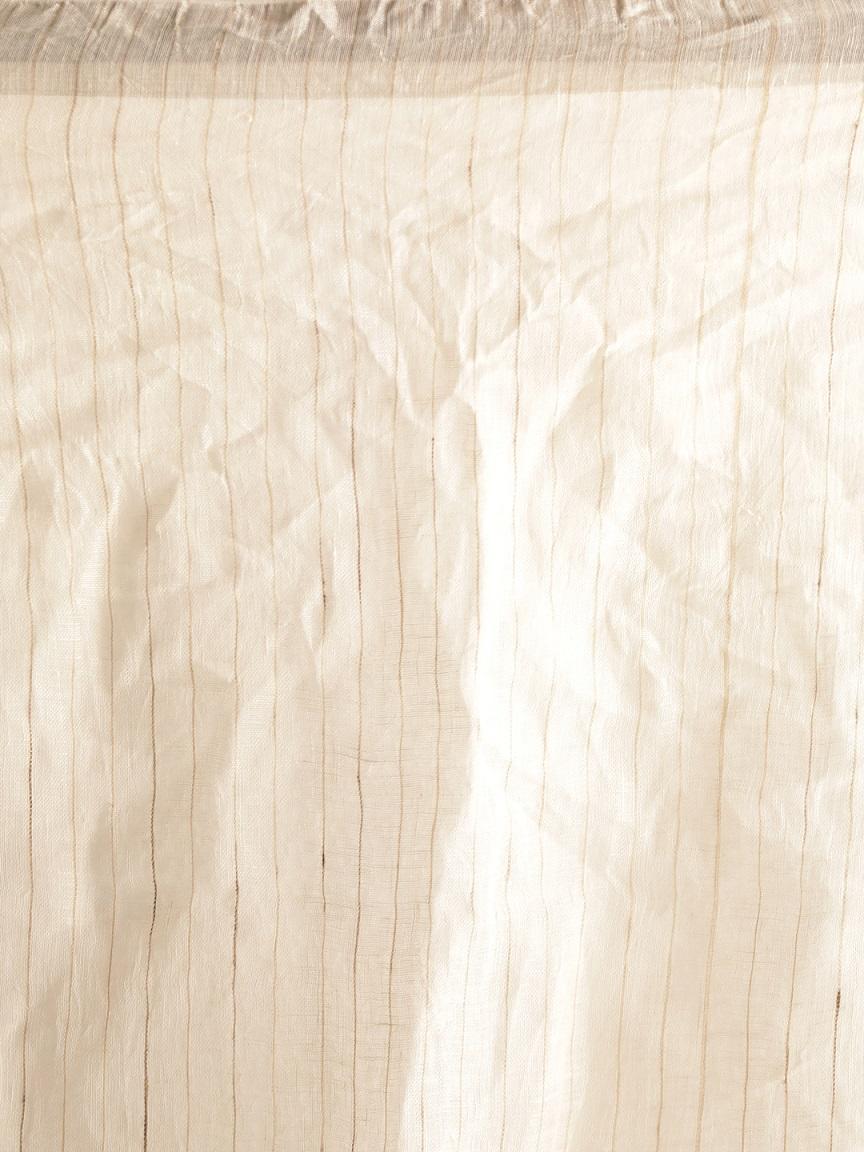 White Hand woven Linen Saree With Zamdani Weave 2
