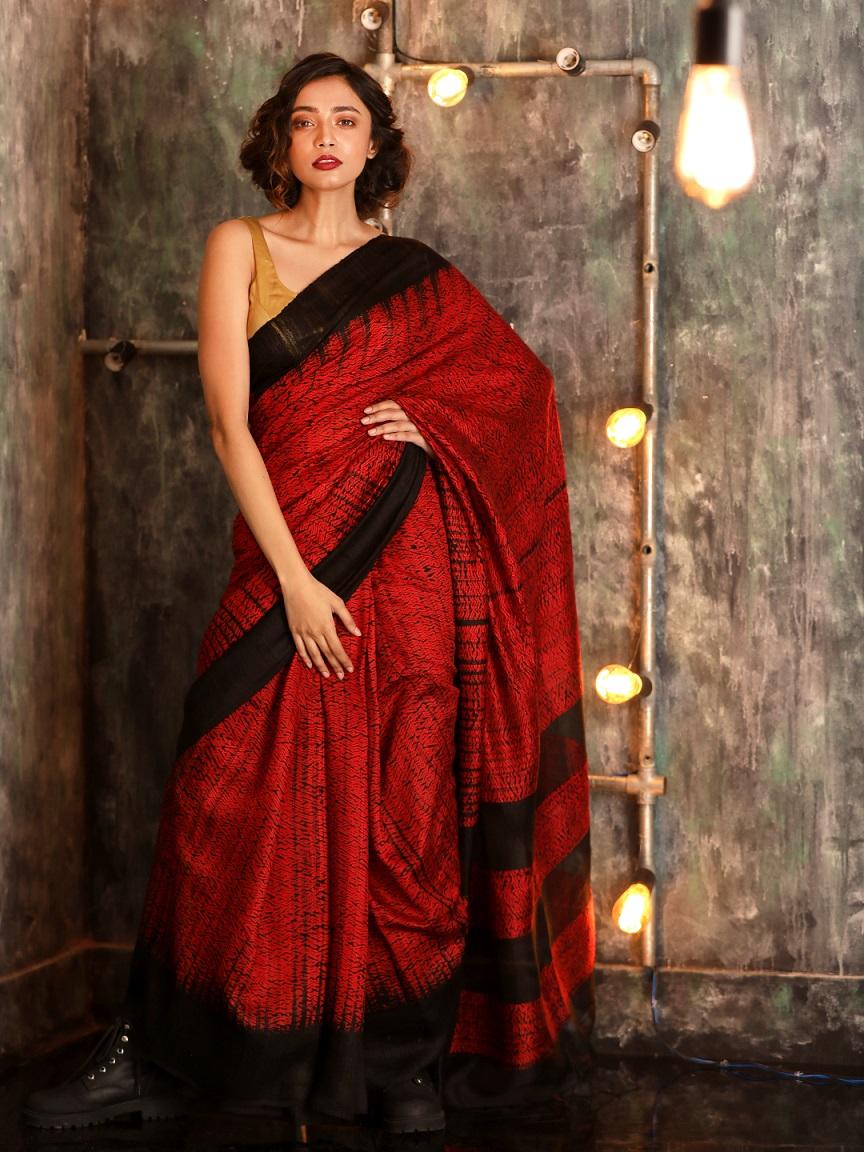 Barn Red Matka Silk Saree With Shibori Dye