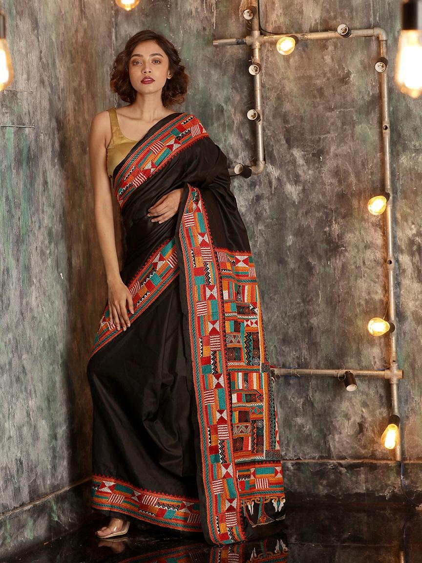 Black Bangalore Silk Hand woven Saree With Kantha Stitch Work