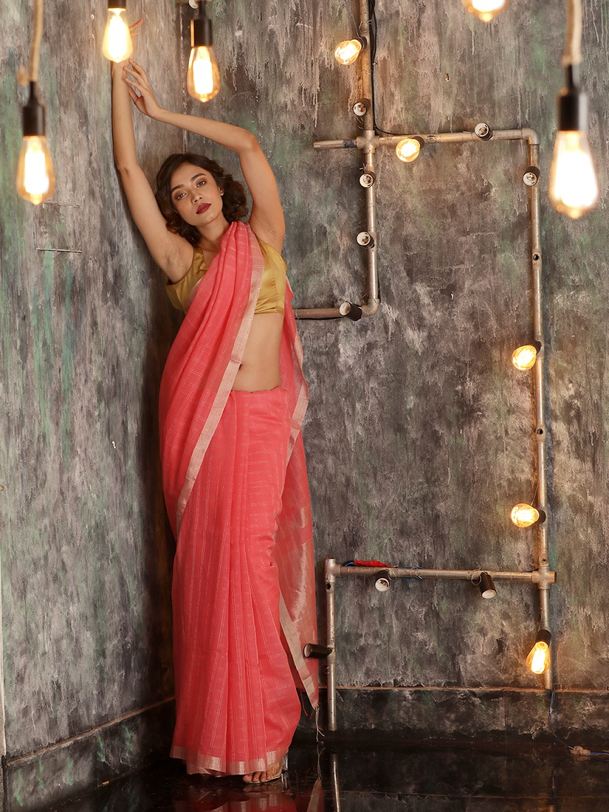 Baby Pink Hand woven Pure Cotton Saree With Zari 0