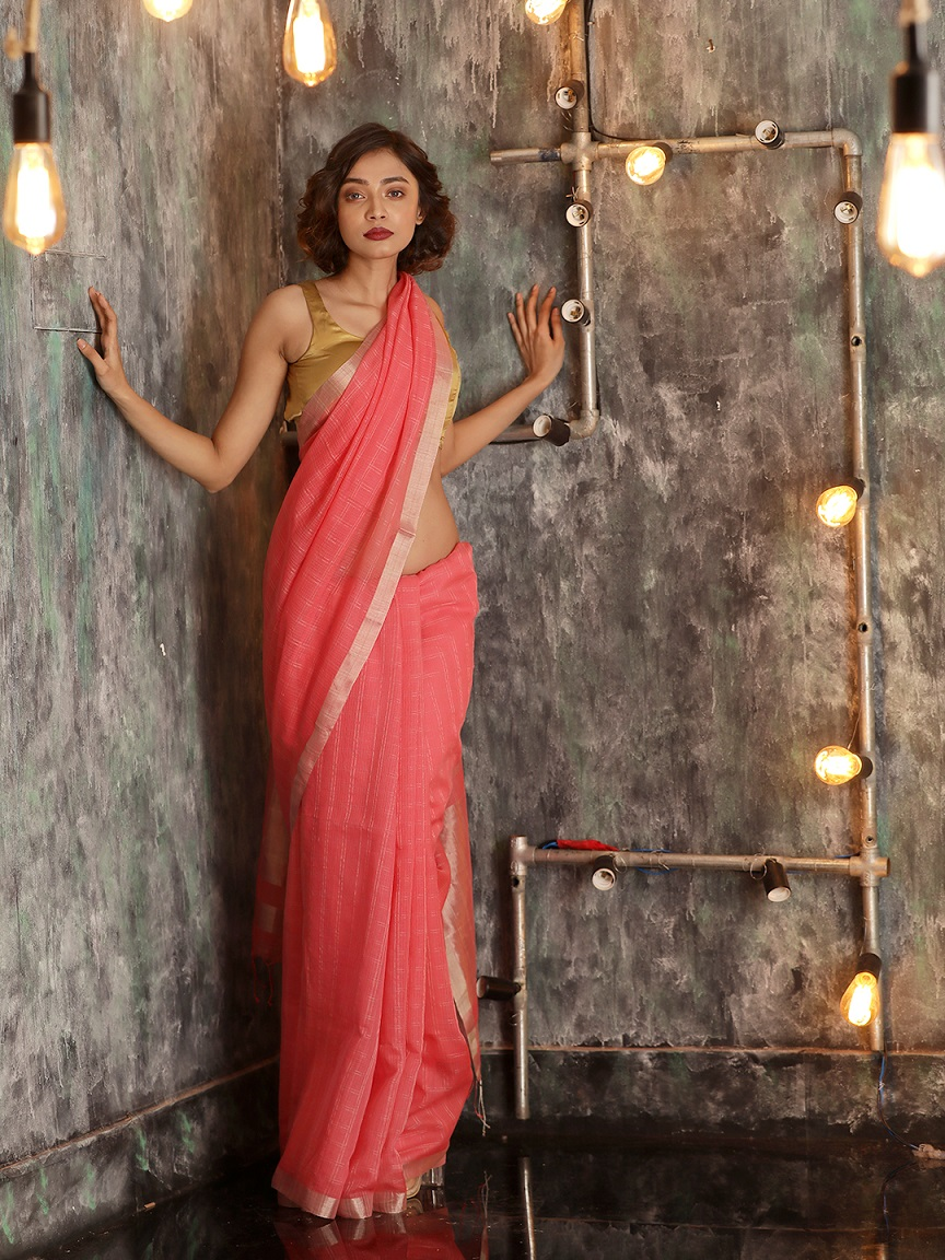 Baby Pink Hand woven Pure Cotton Saree With Zari