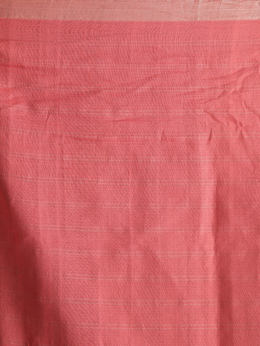 Baby Pink Hand woven Pure Cotton Saree With Zari 2
