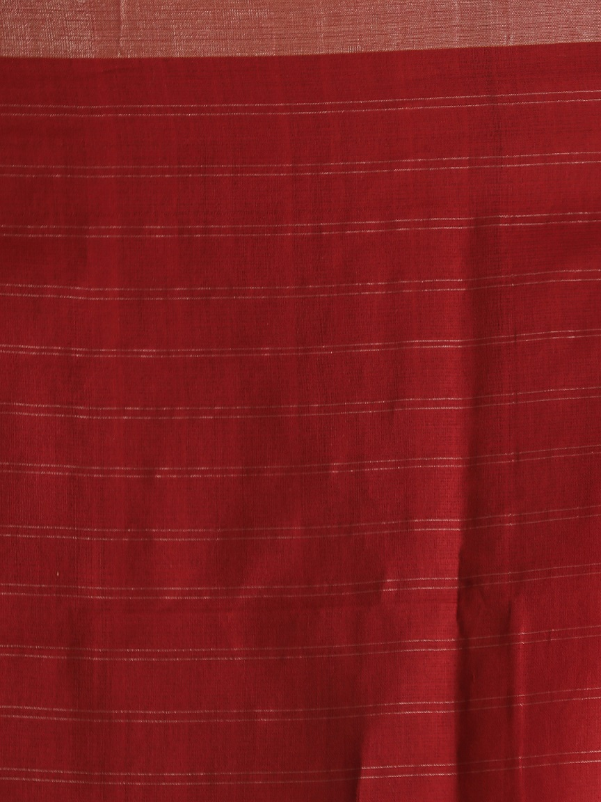 Maroon Hand woven Pure Cotton Saree With Zari 2
