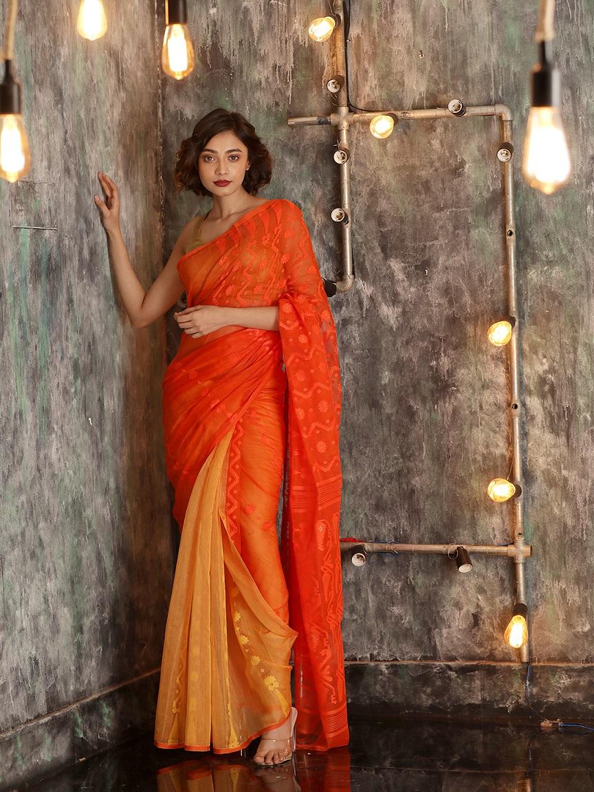 Orange Cotton Hand woven Jamdani Saree With Zari