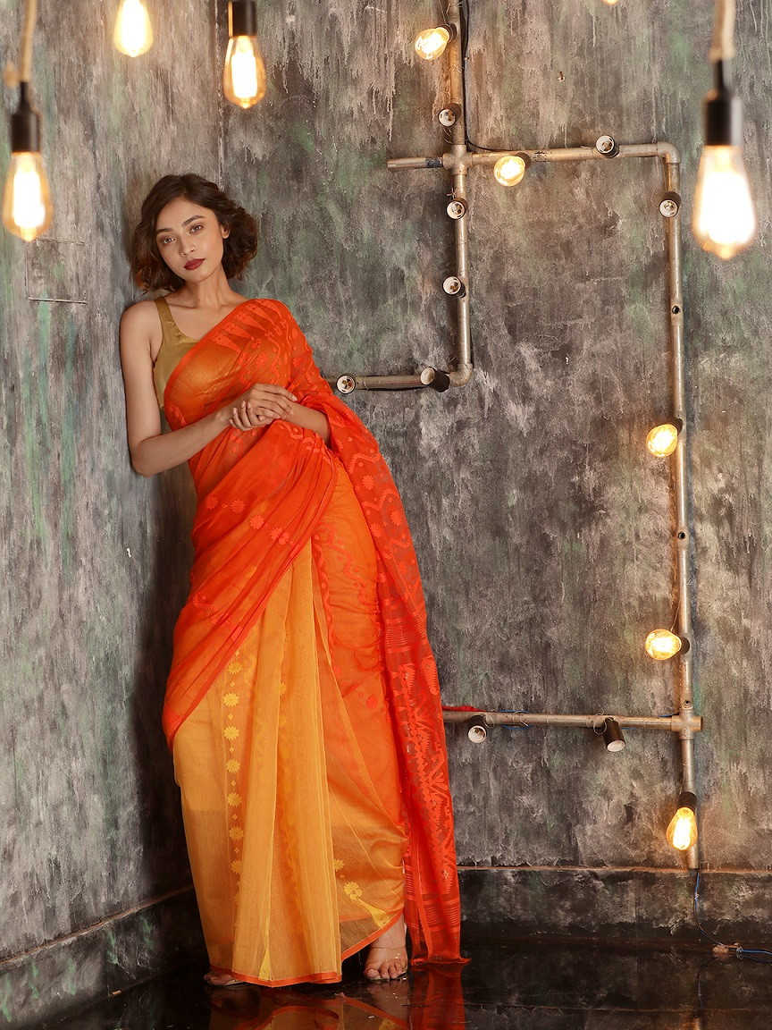 Orange Cotton Hand woven Jamdani Saree With Zari 0