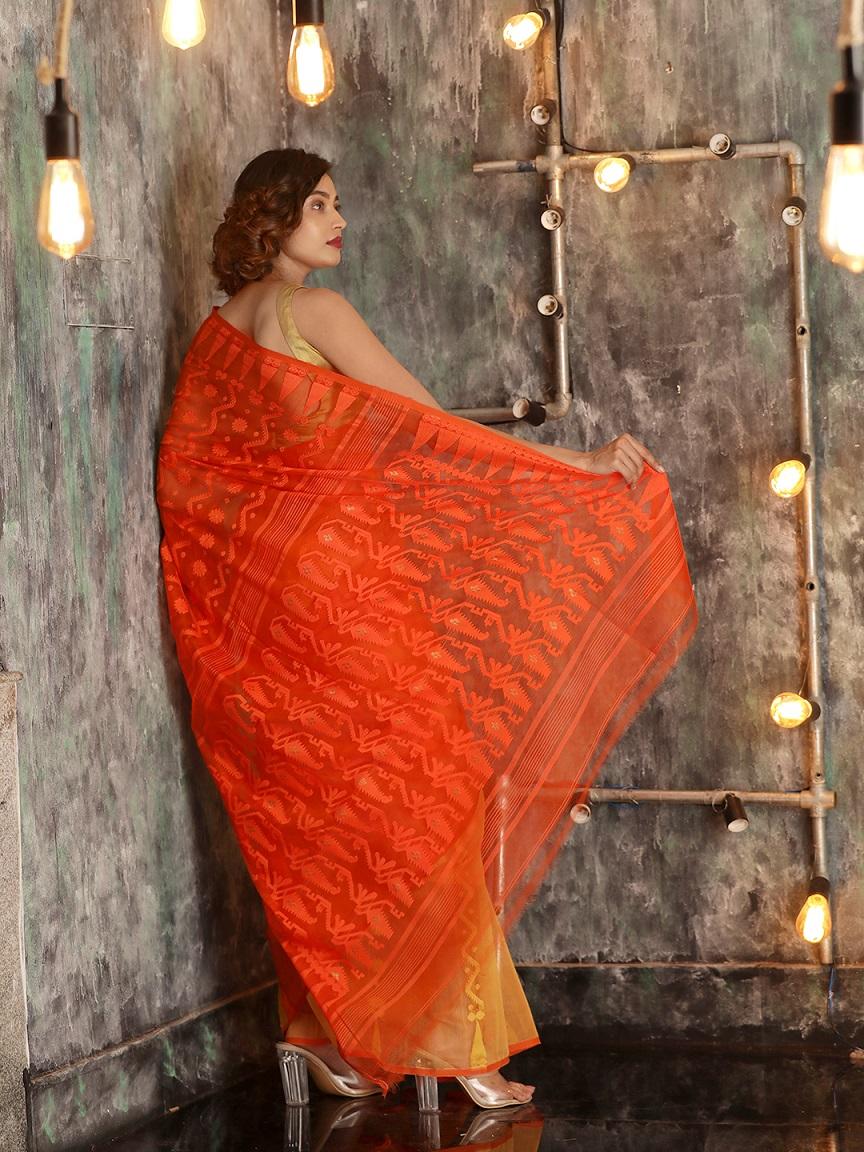 Orange Cotton Hand woven Jamdani Saree With Zari 1