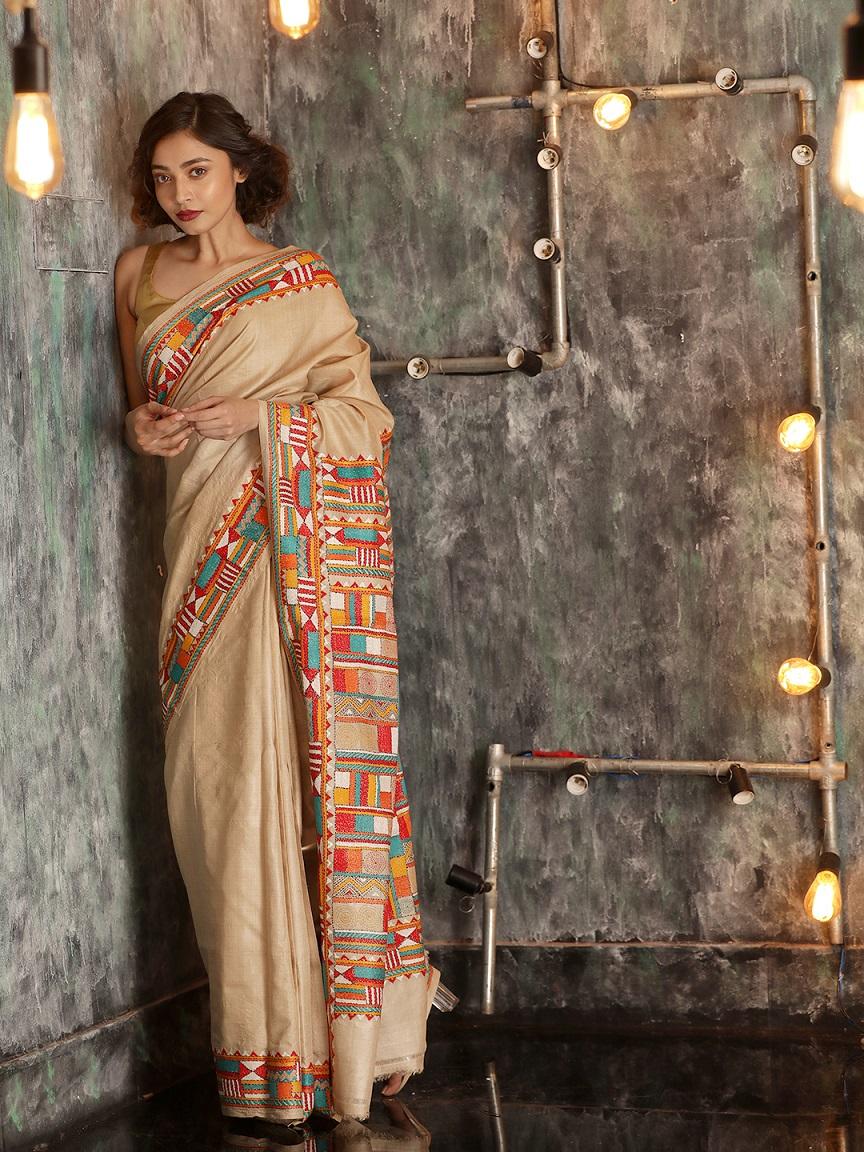 Beige Tusser Silk Hand woven  Saree With Kantha Stitch Work