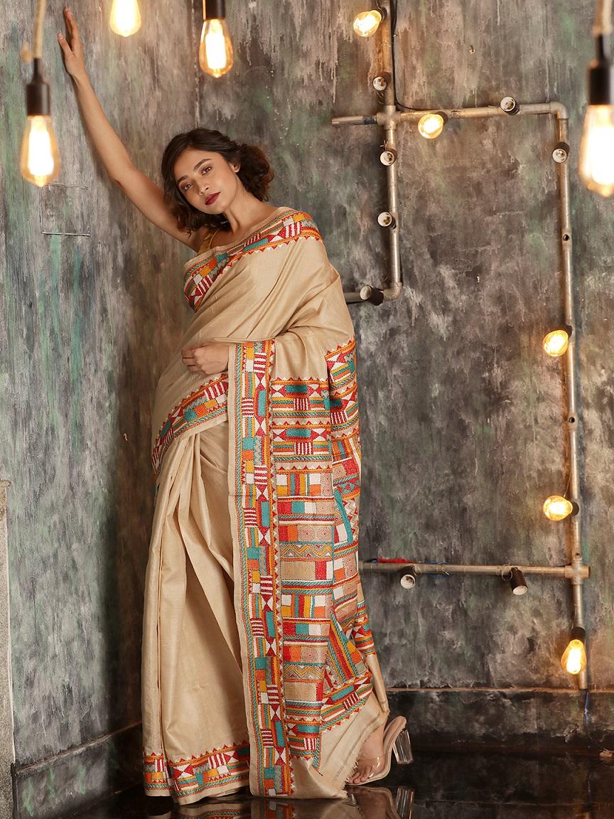 Beige Tusser Silk Hand woven  Saree With Kantha Stitch Work 0